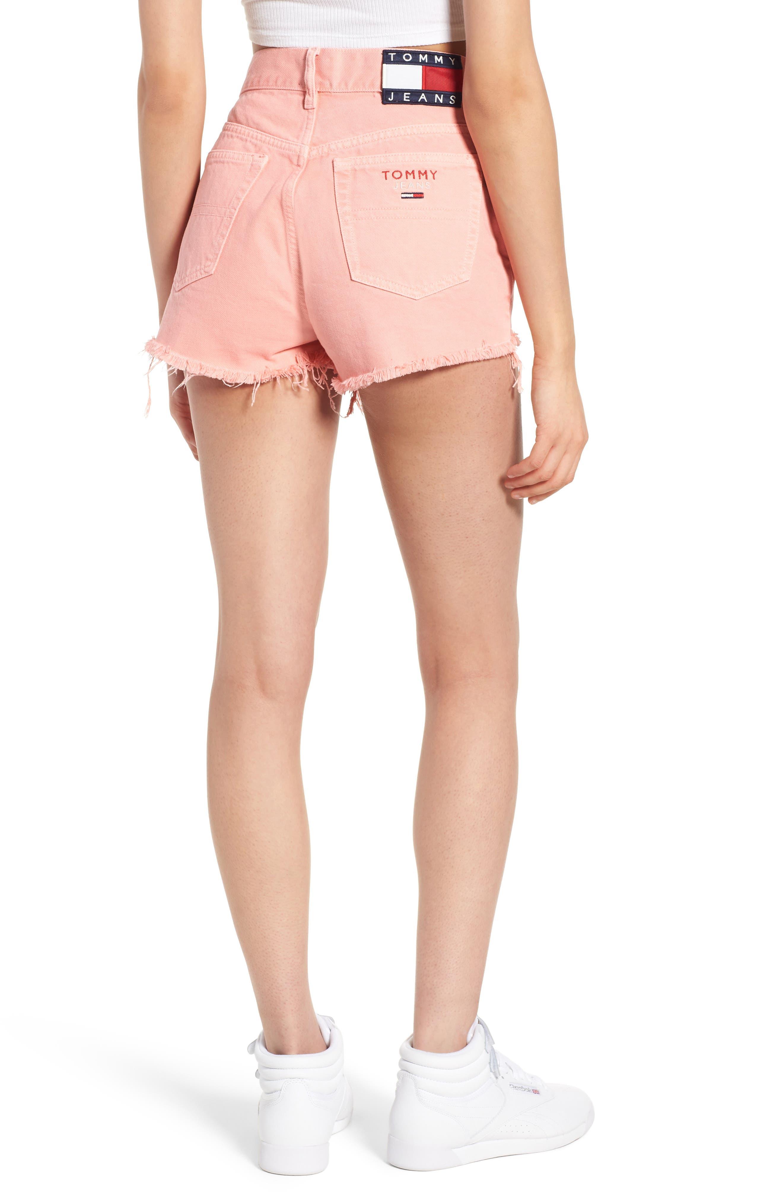Fray Hem Denim Shorts,                             Alternate thumbnail 2, color,                             Quartz Pink