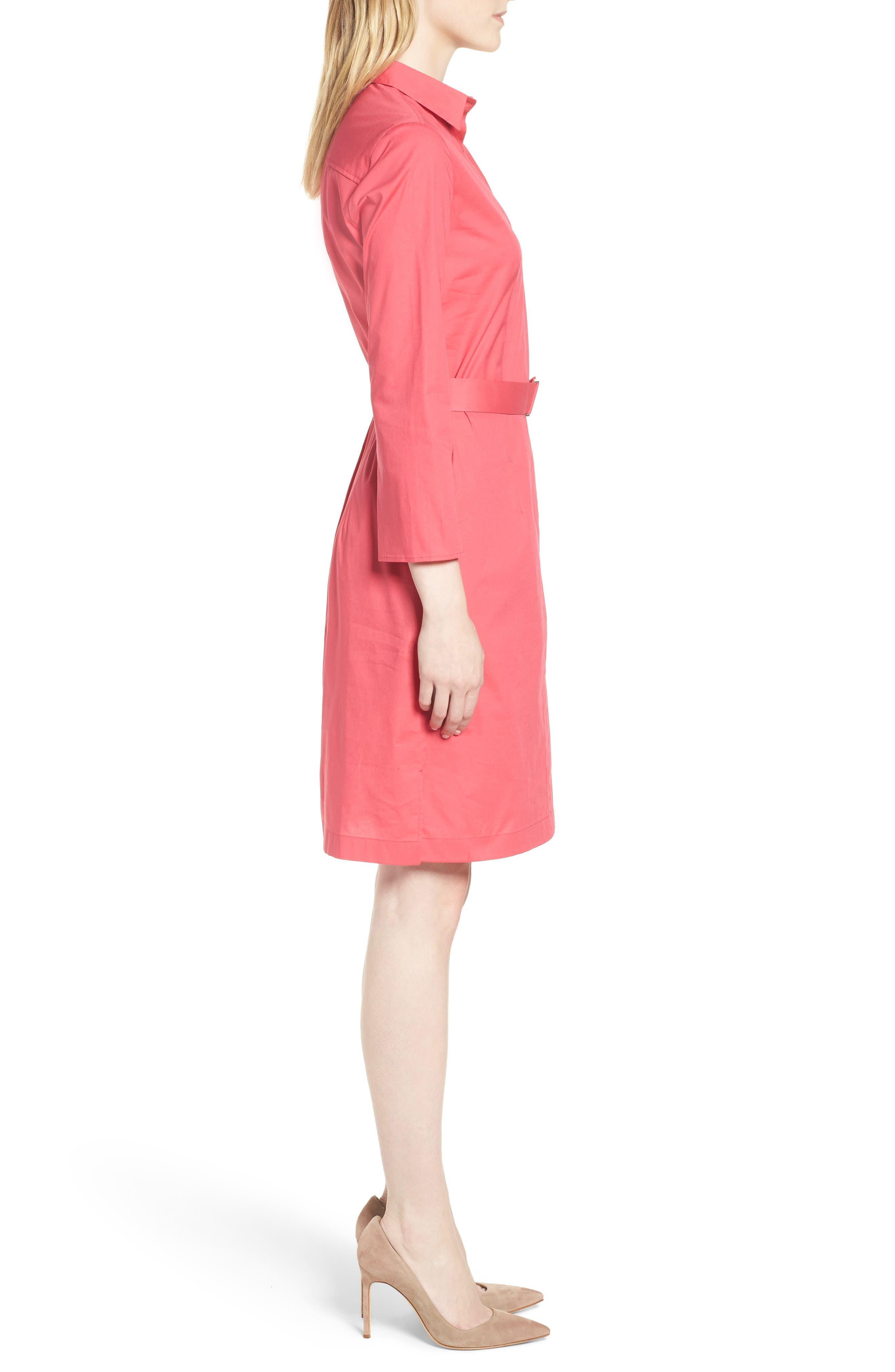 Dashiri Stretch Poplin Dress,                             Alternate thumbnail 3, color,                             Lychee Pink
