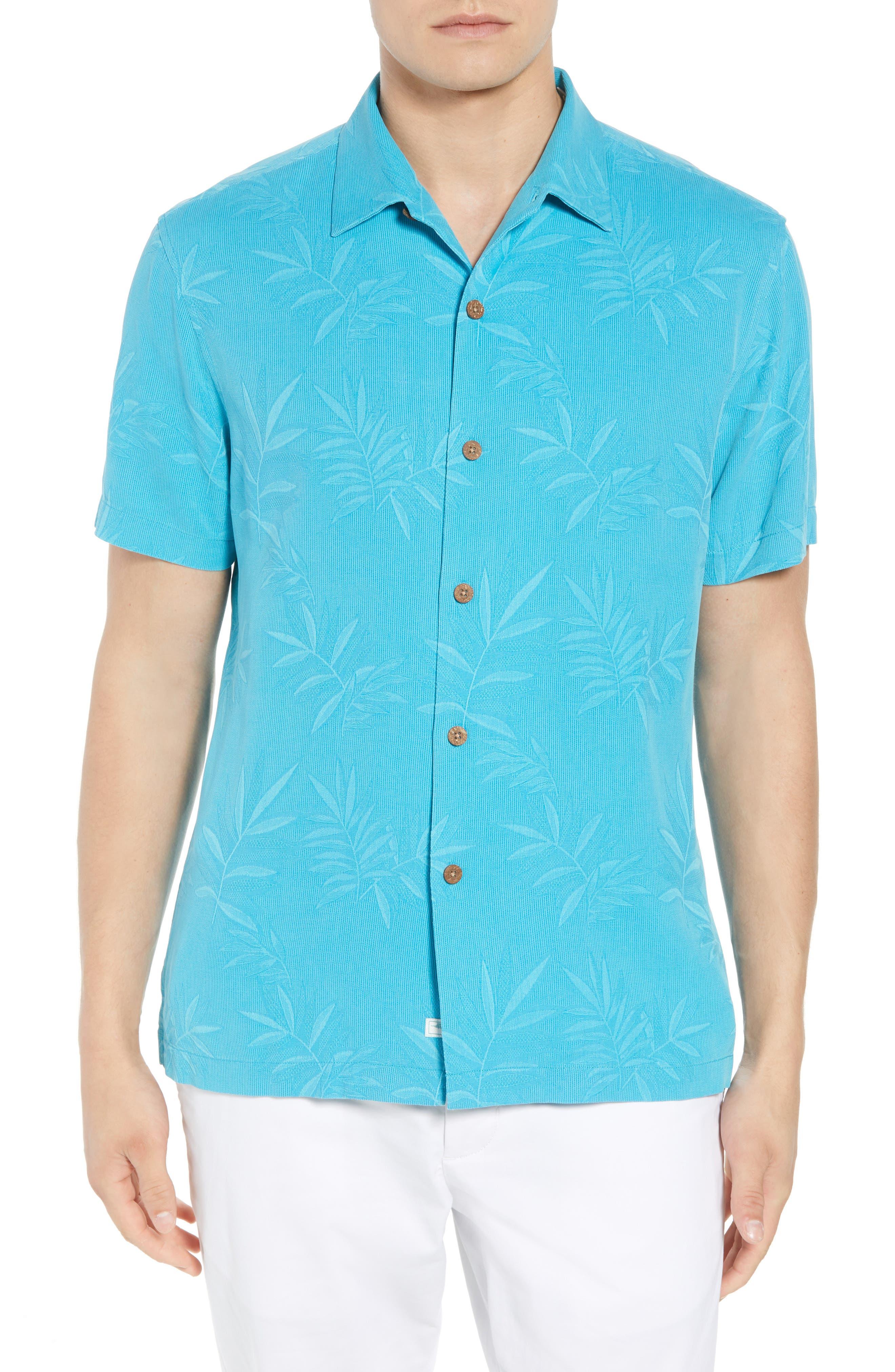 Luau Floral Silk Shirt,                         Main,                         color, Pool Party Blue