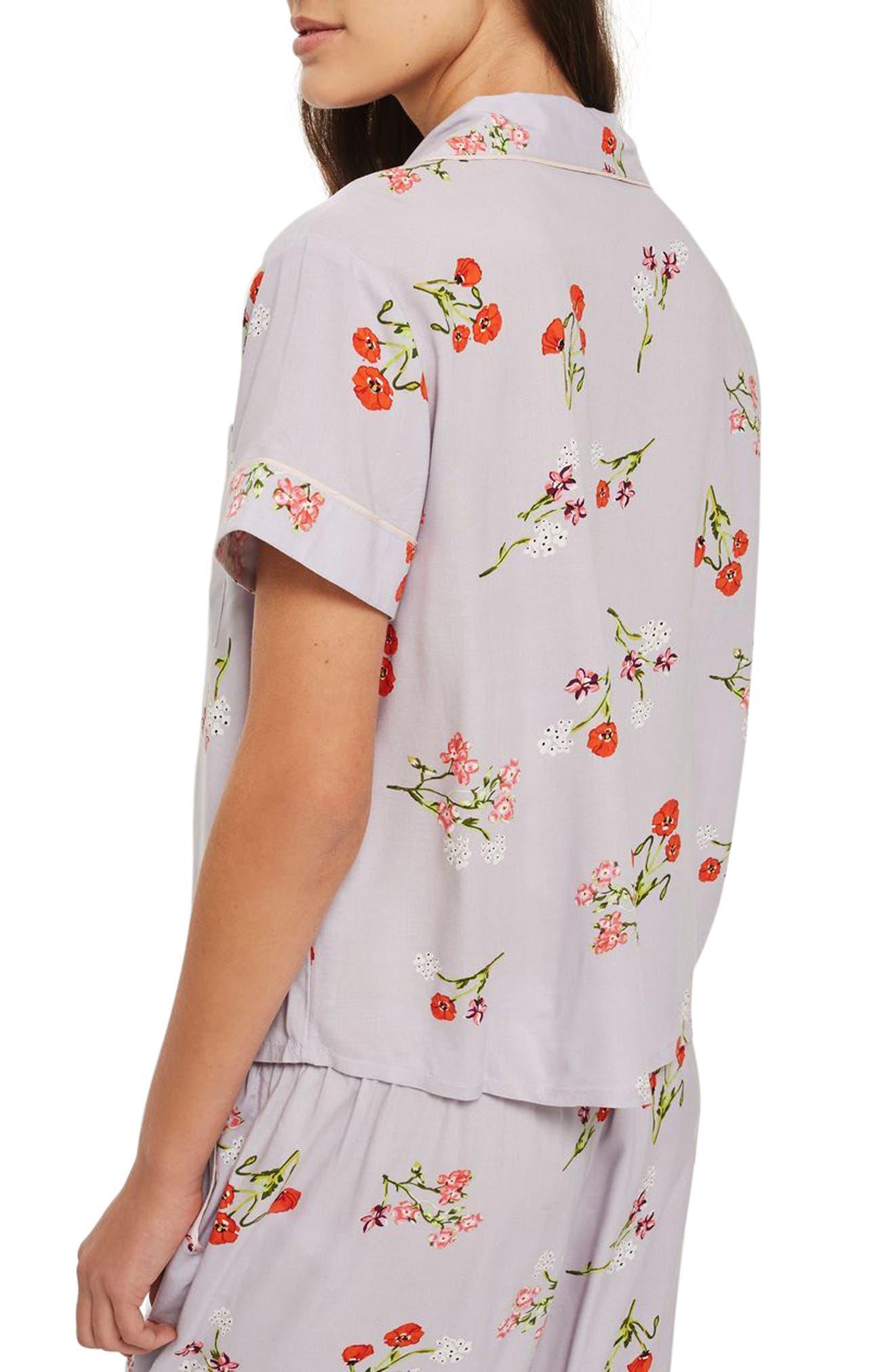 Poppy Pajama Shirt,                             Alternate thumbnail 2, color,                             Light Blue Multi
