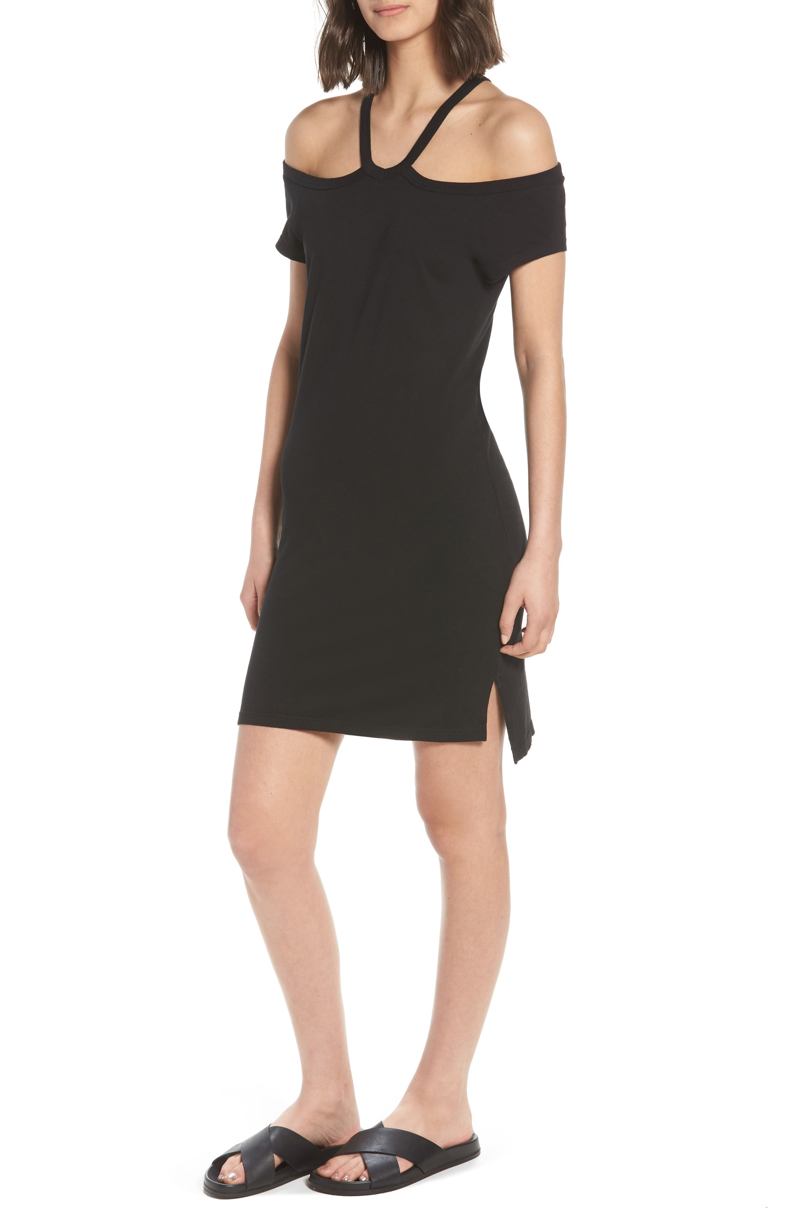 Cold Shoulder Dress,                         Main,                         color, Black