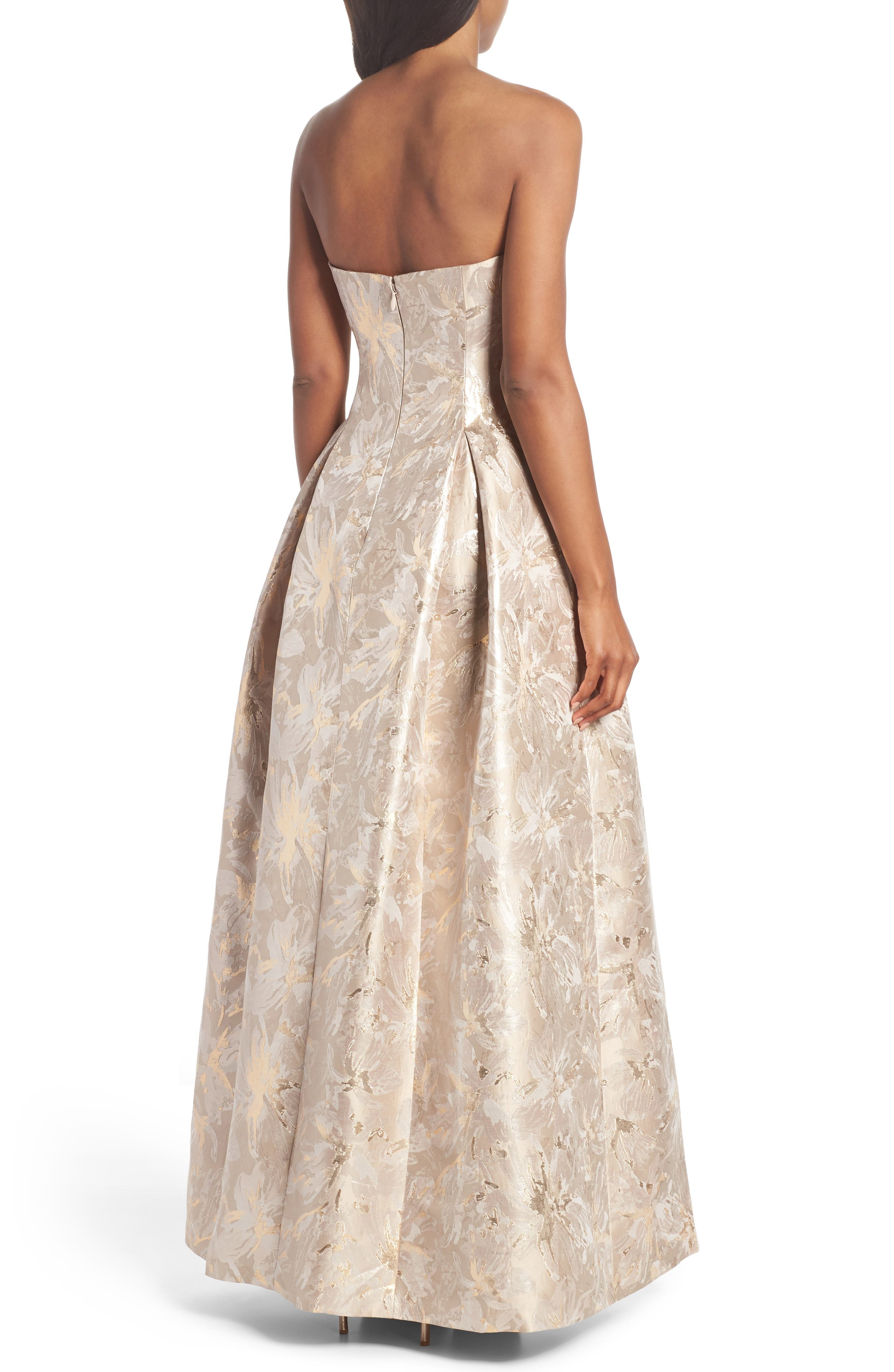 Bejeweled Neckline Strapless Ballgown,                             Alternate thumbnail 2, color,                             Champagne