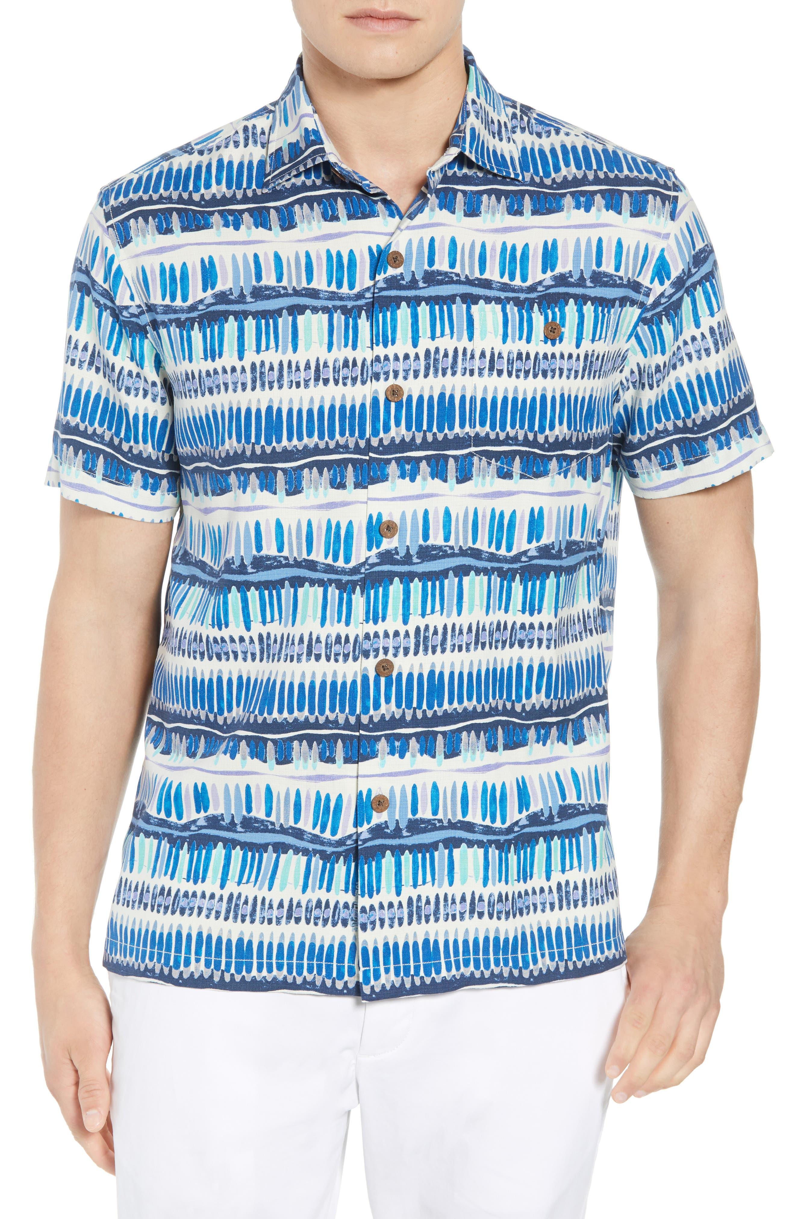 Geo Surf Silk Blend Camp Shirt,                         Main,                         color, Old Royal