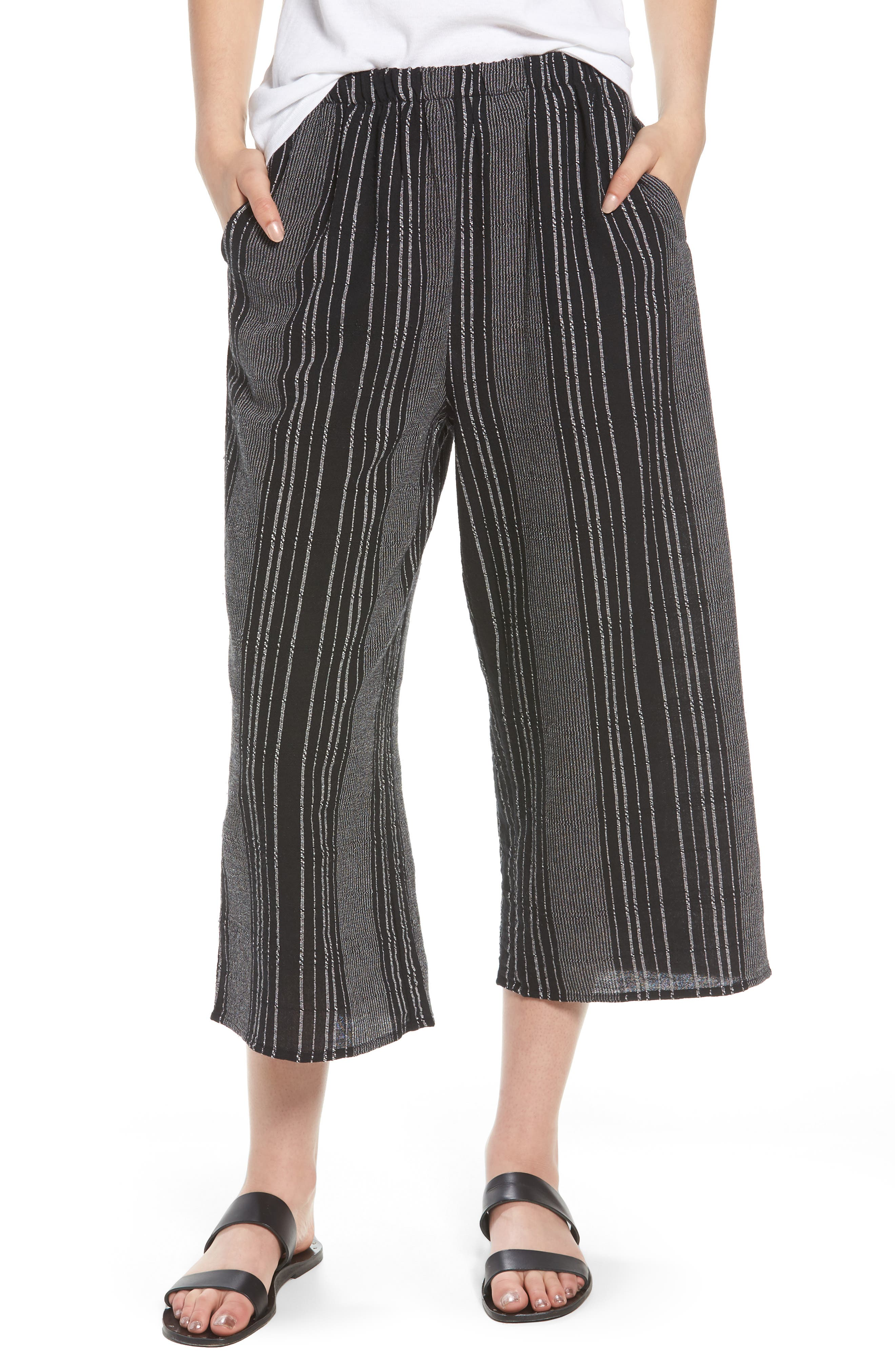 Bella Stripe Crop Pants,                             Main thumbnail 1, color,                             Black