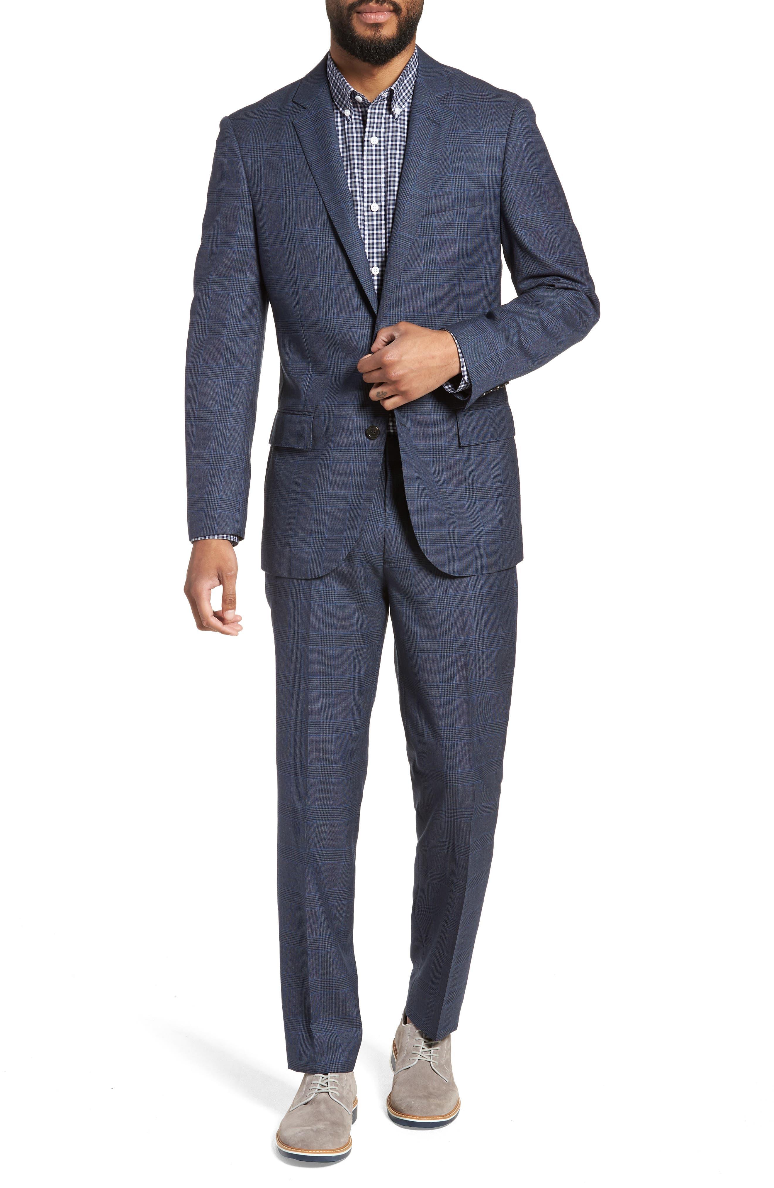 Ludlow Trim Fit Glen Plaid Wool Pants,                             Alternate thumbnail 6, color,                             Baltic Blue