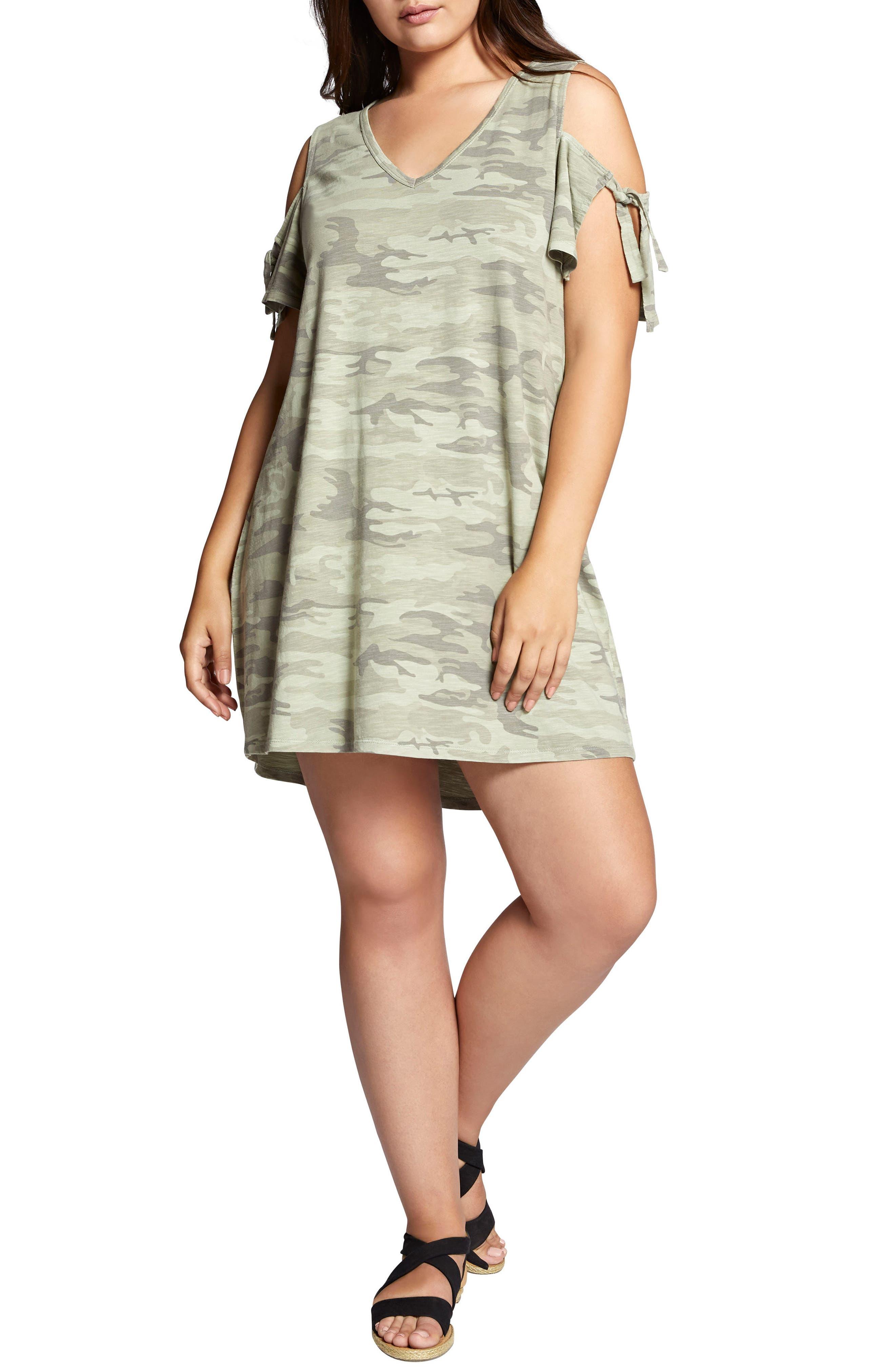 Sanctuary Lakeside Camo Cold Shoulder T-Shirt Dress (Plus Size)
