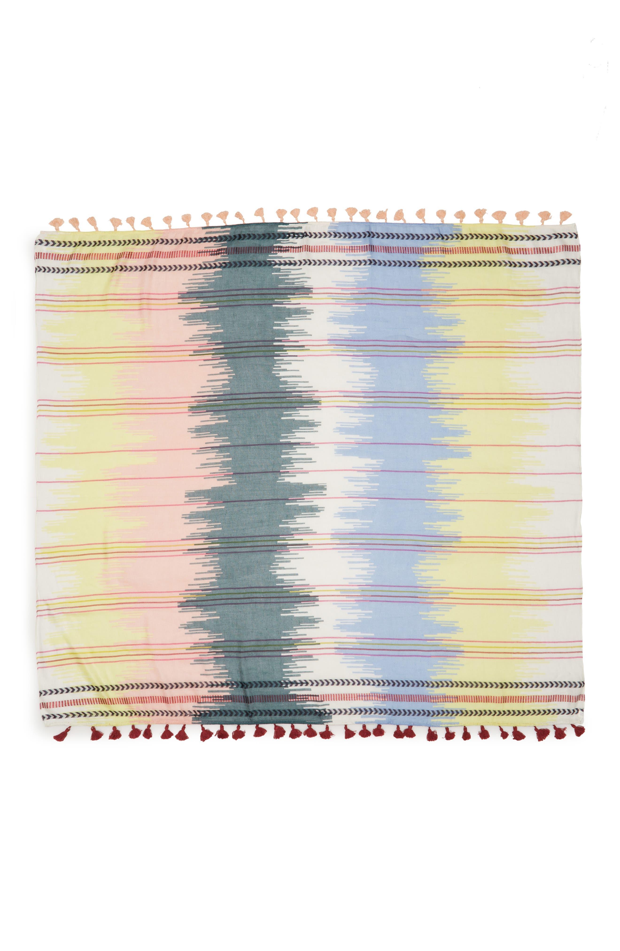 Caslon Ikat Stripe Linen Blend Scarf,                             Alternate thumbnail 2, color,                             Yellow Printed Ikat