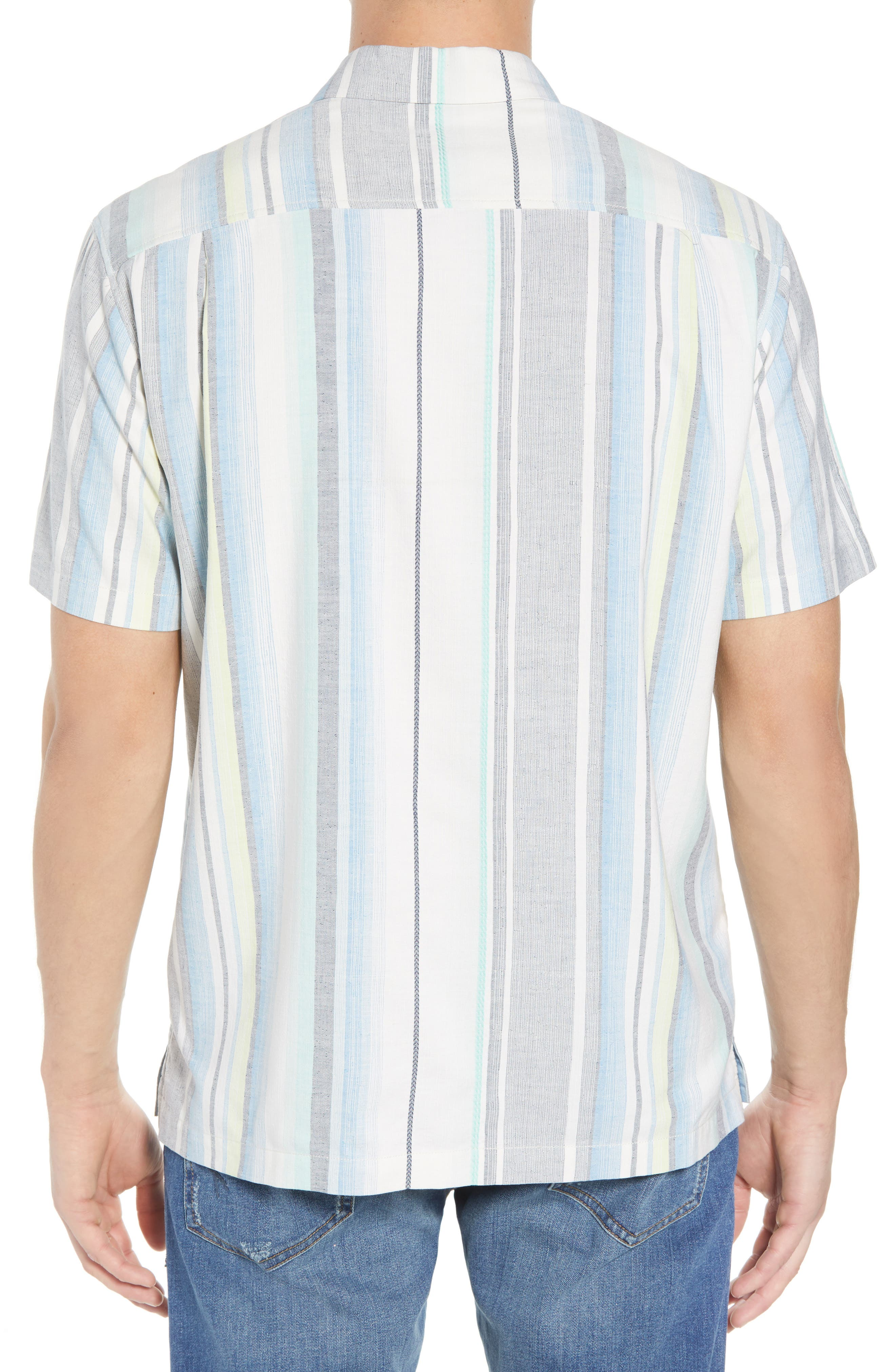 Posado Sands Silk Camp Shirt,                             Alternate thumbnail 3, color,                             Blue Aster