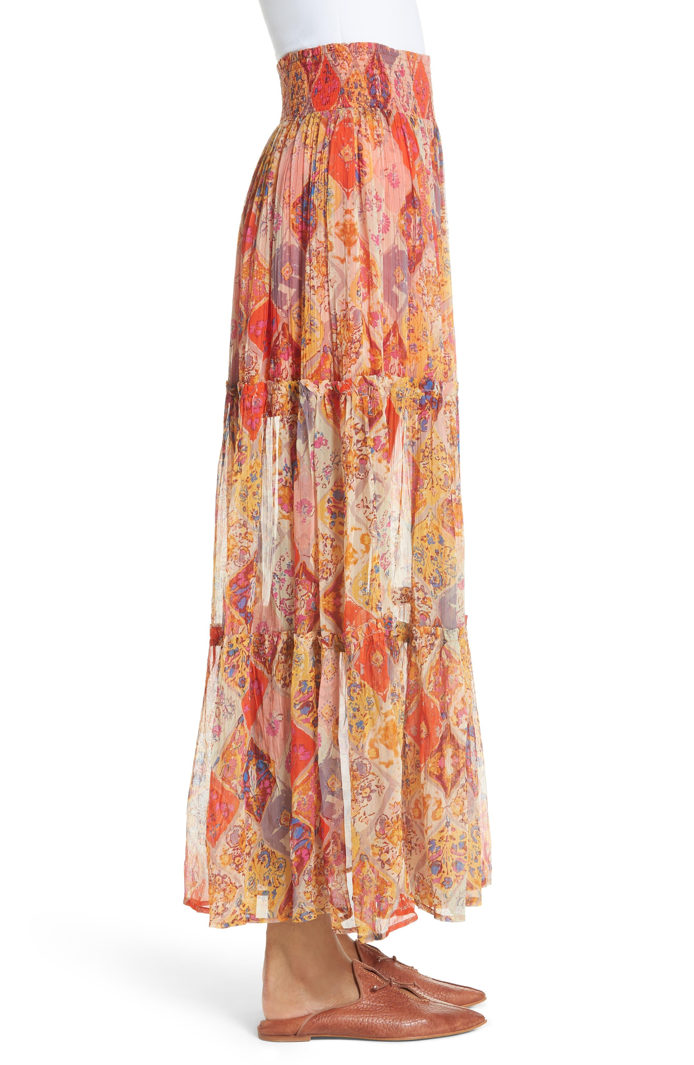 The Great Escape Print Maxi Skirt,                             Alternate thumbnail 3, color,                             Orange