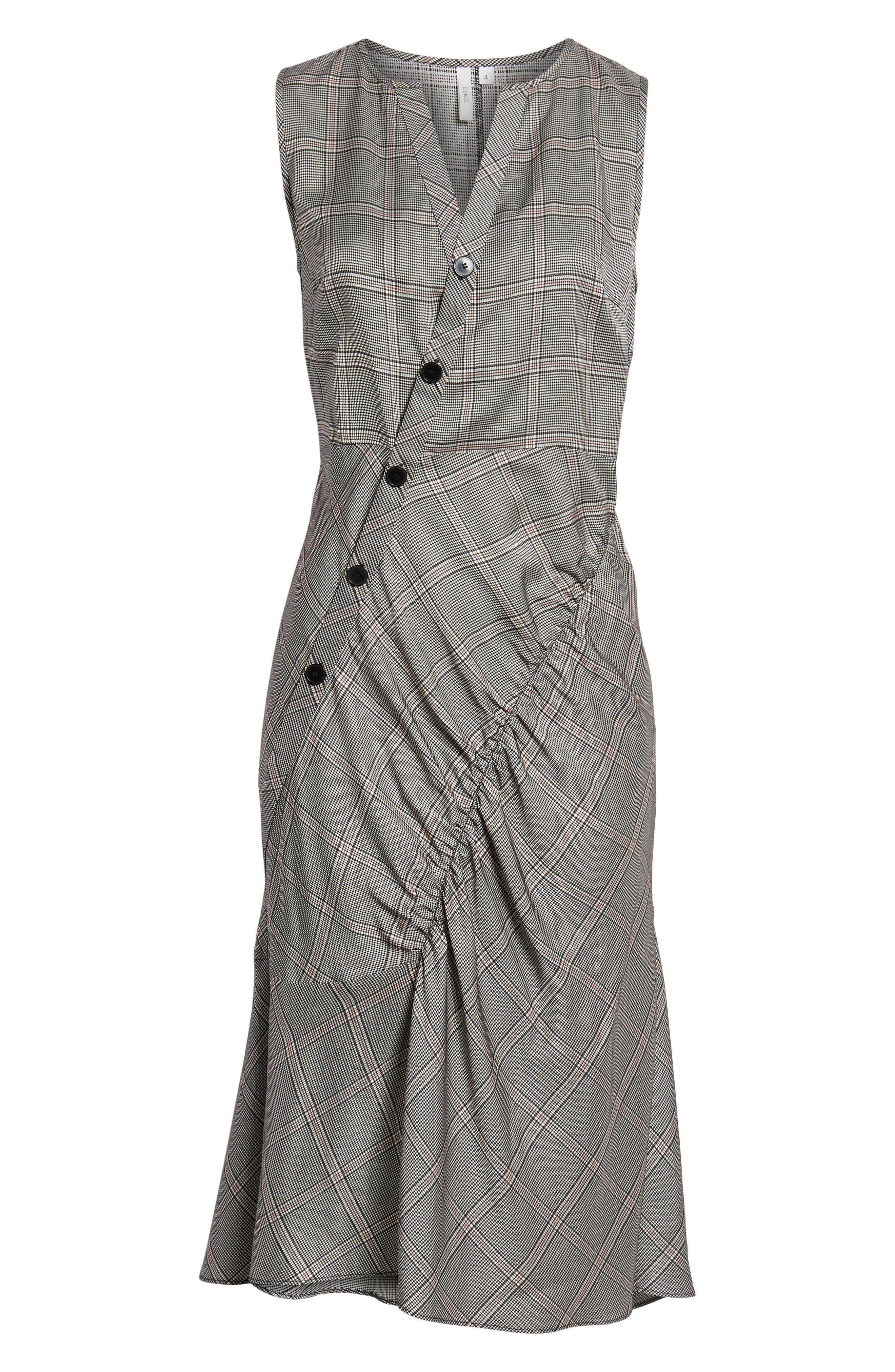 Seam Detail Sleeveless Check Dress,                             Alternate thumbnail 6, color,                             Black York Check