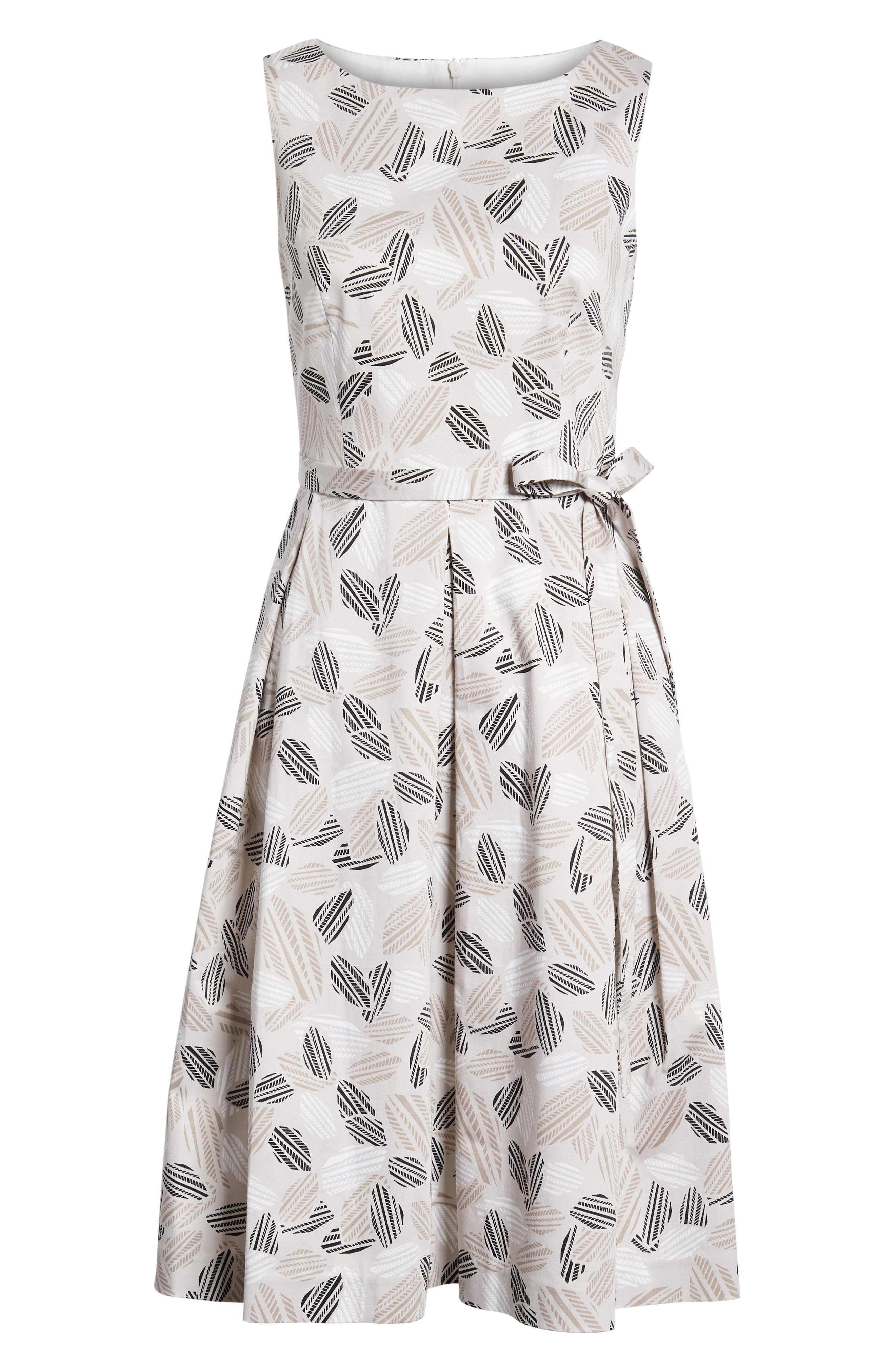 Leaf Print Fit And Flare Dress,                             Alternate thumbnail 7, color,                             Parchment/ Oyster Shell Combo
