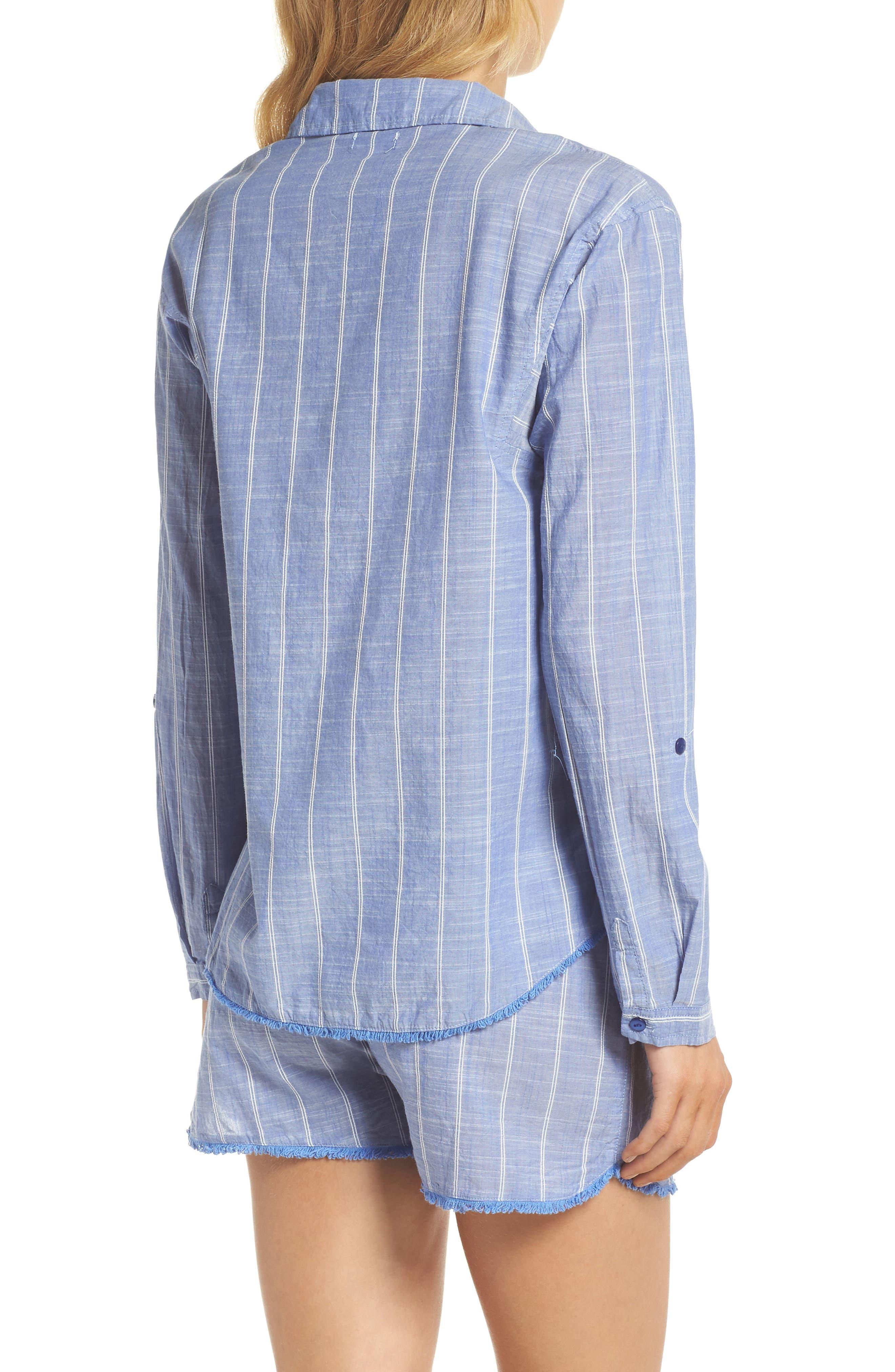 Stripe Short Pajamas,                             Alternate thumbnail 2, color,                             Blue