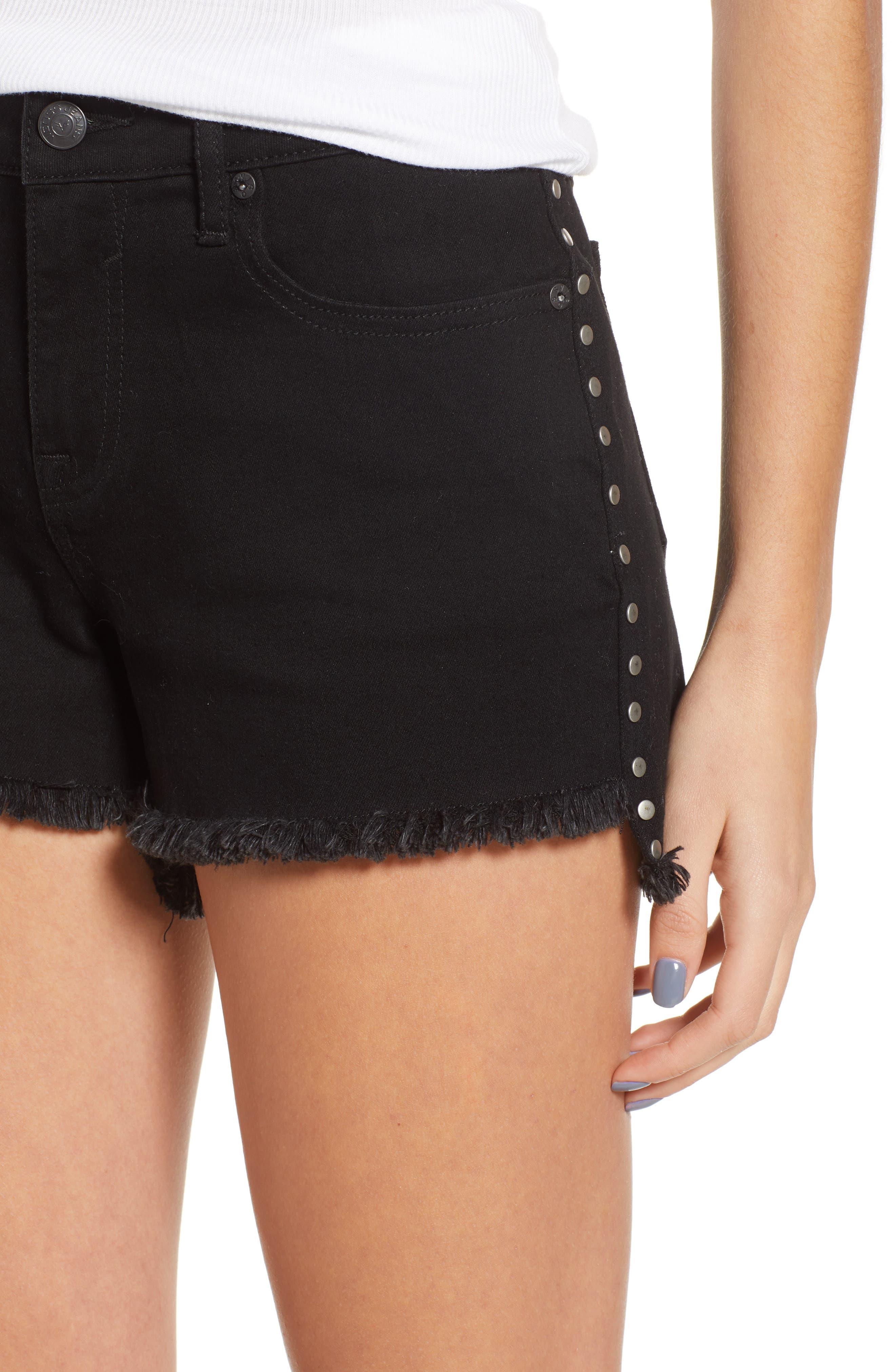 Studded Step Hem Denim Cutoff Shorts,                             Alternate thumbnail 4, color,                             Black