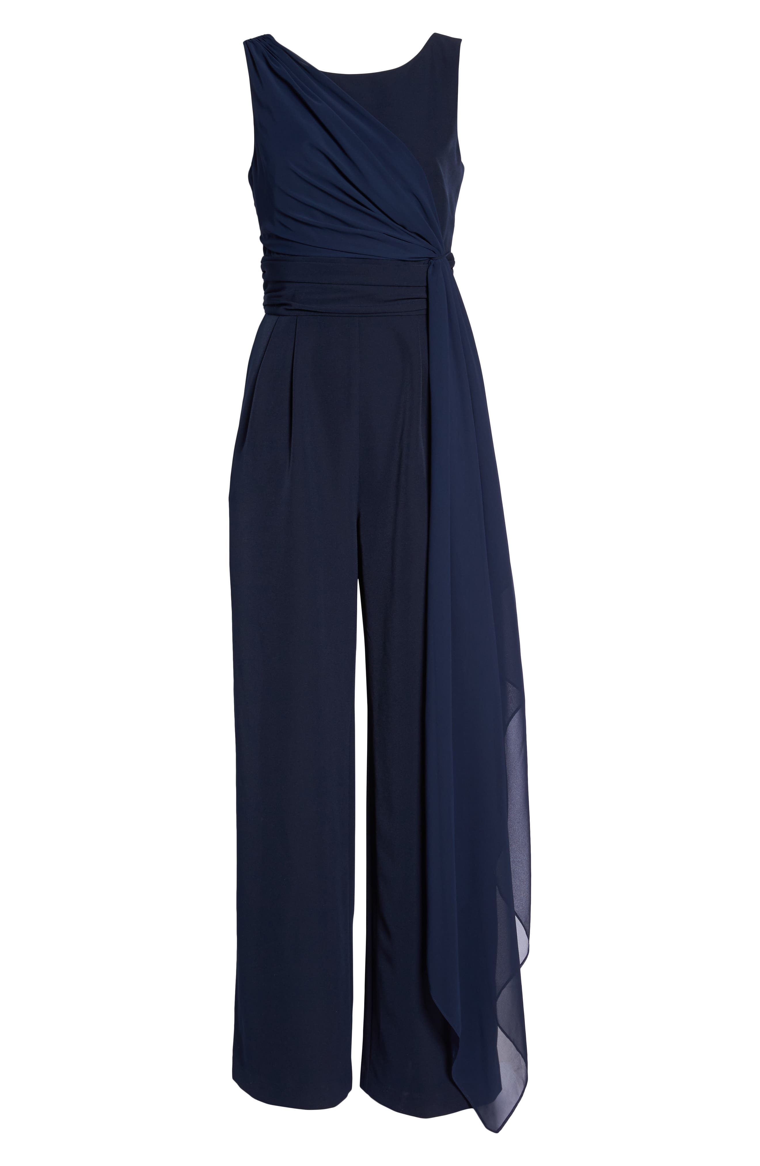 Cascading Tie Jumpsuit,                             Alternate thumbnail 6, color,                             Navy