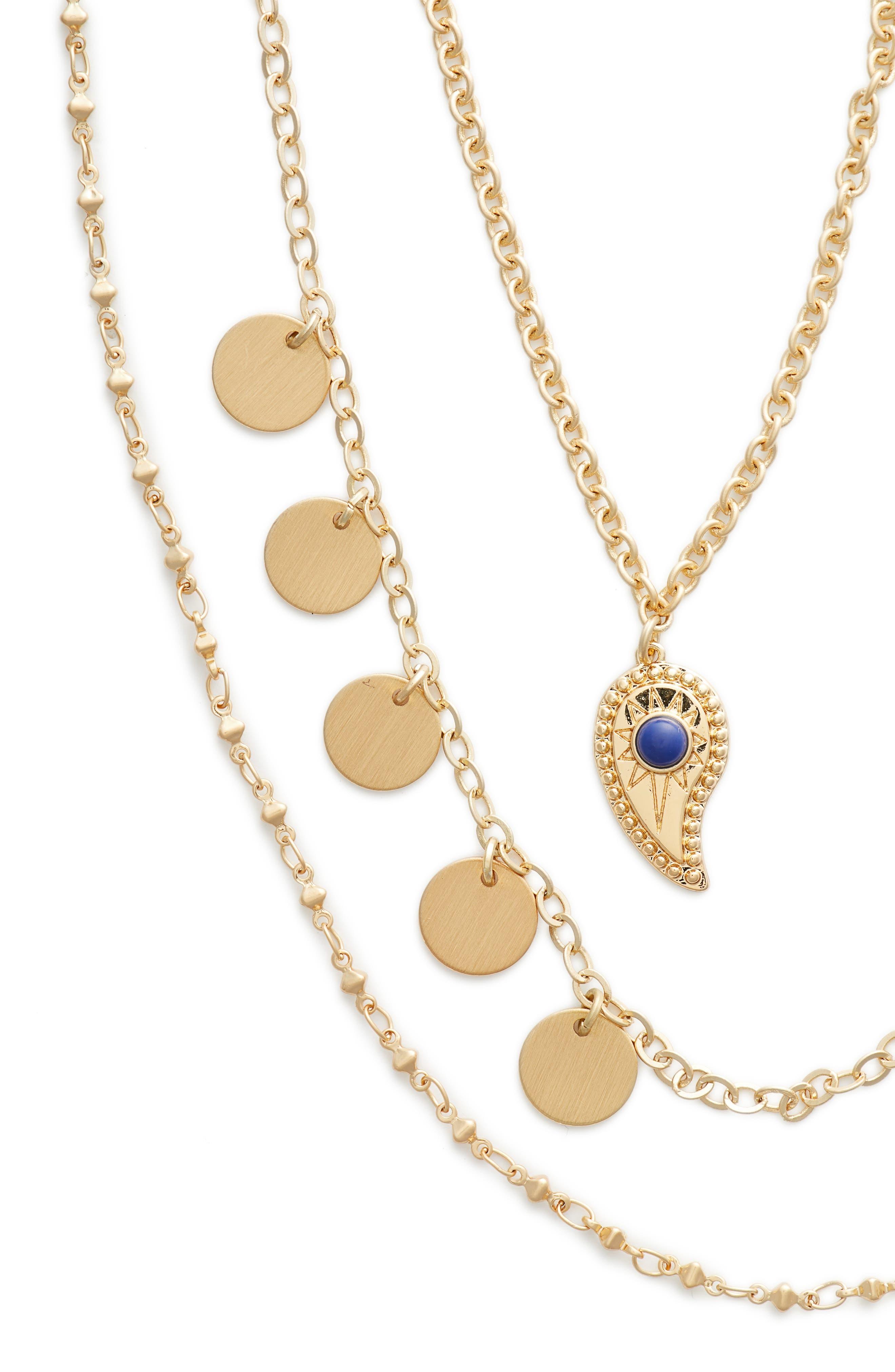 Triple Layer Paisley Necklace,                             Alternate thumbnail 2, color,                             Gold
