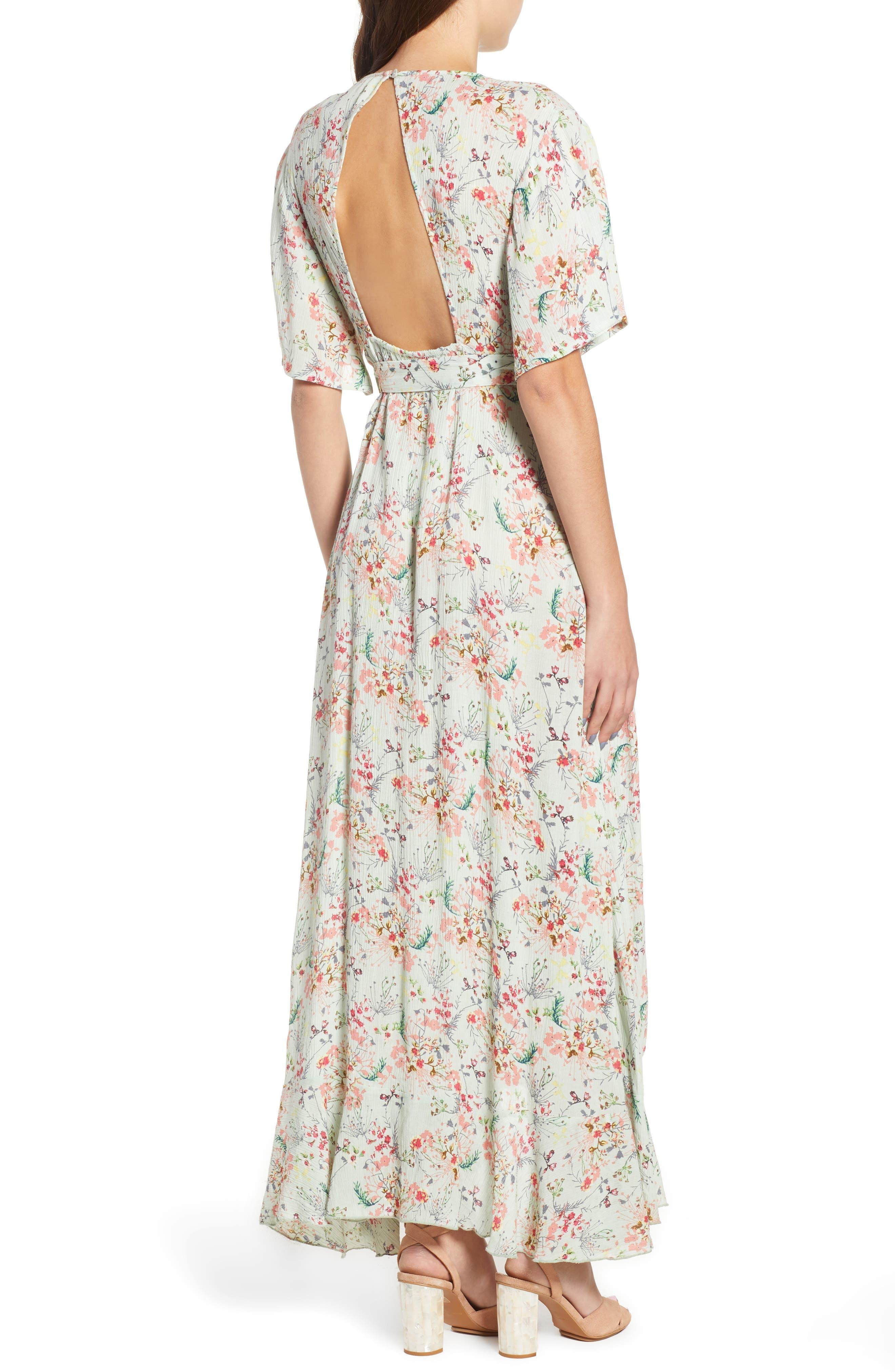 Secret Escape Floral Faux Wrap Maxi Dress,                             Alternate thumbnail 3, color,                             Sage