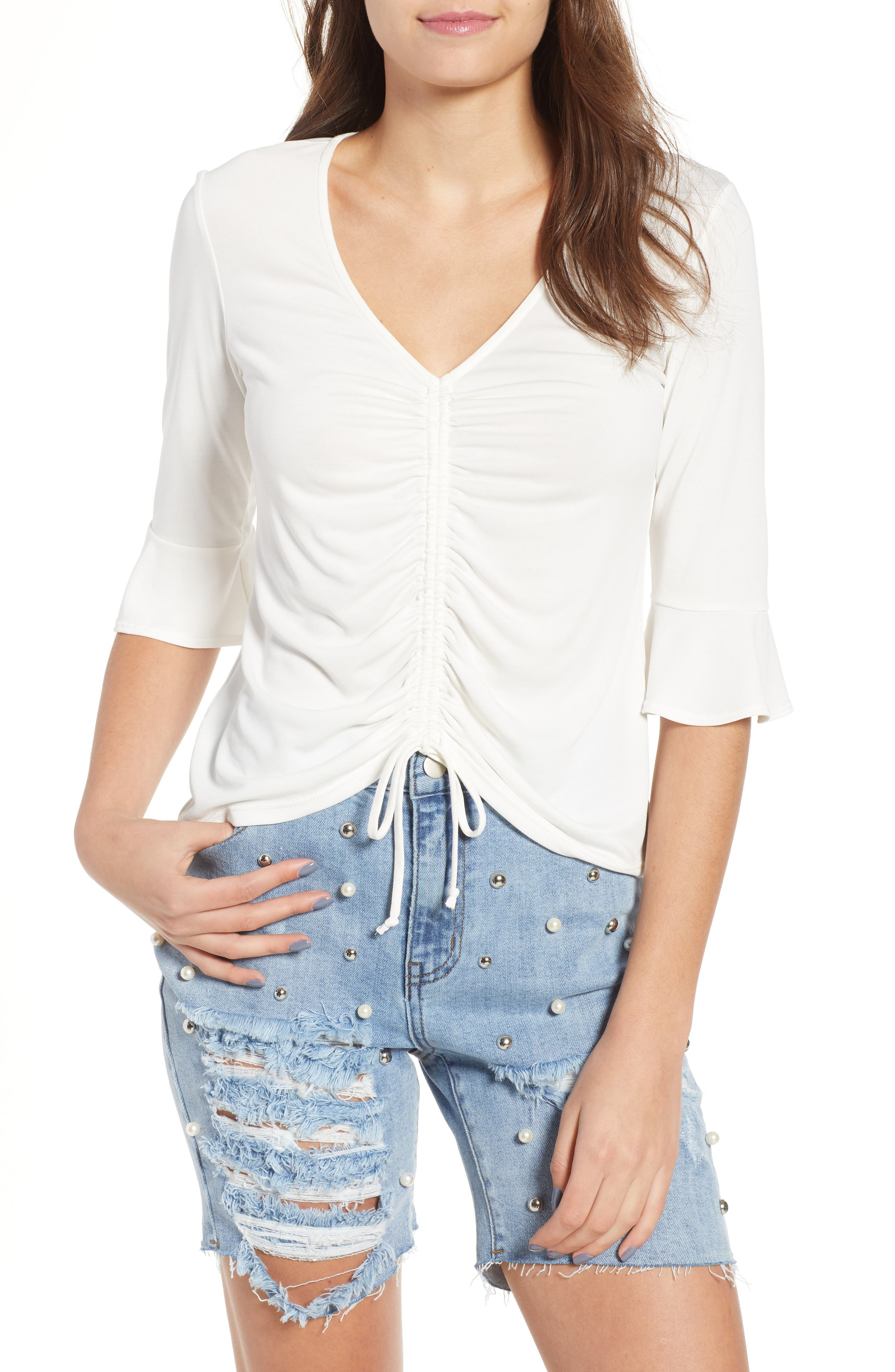 Cinch Front Tee,                             Main thumbnail 1, color,                             Ivory