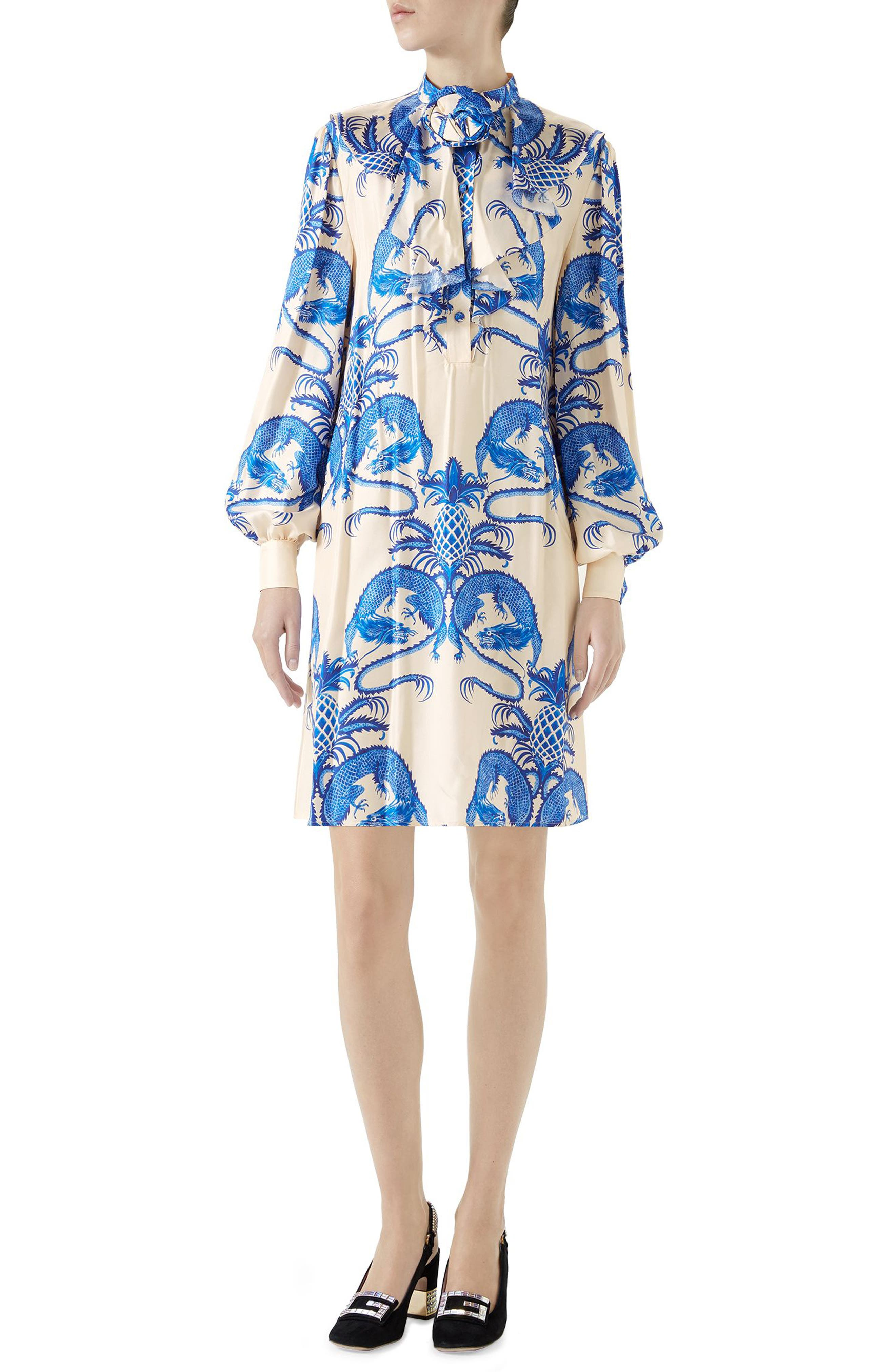 Dragon Print Twill Ruffle Neck Dress,                         Main,                         color, Ivory/ Blue Print