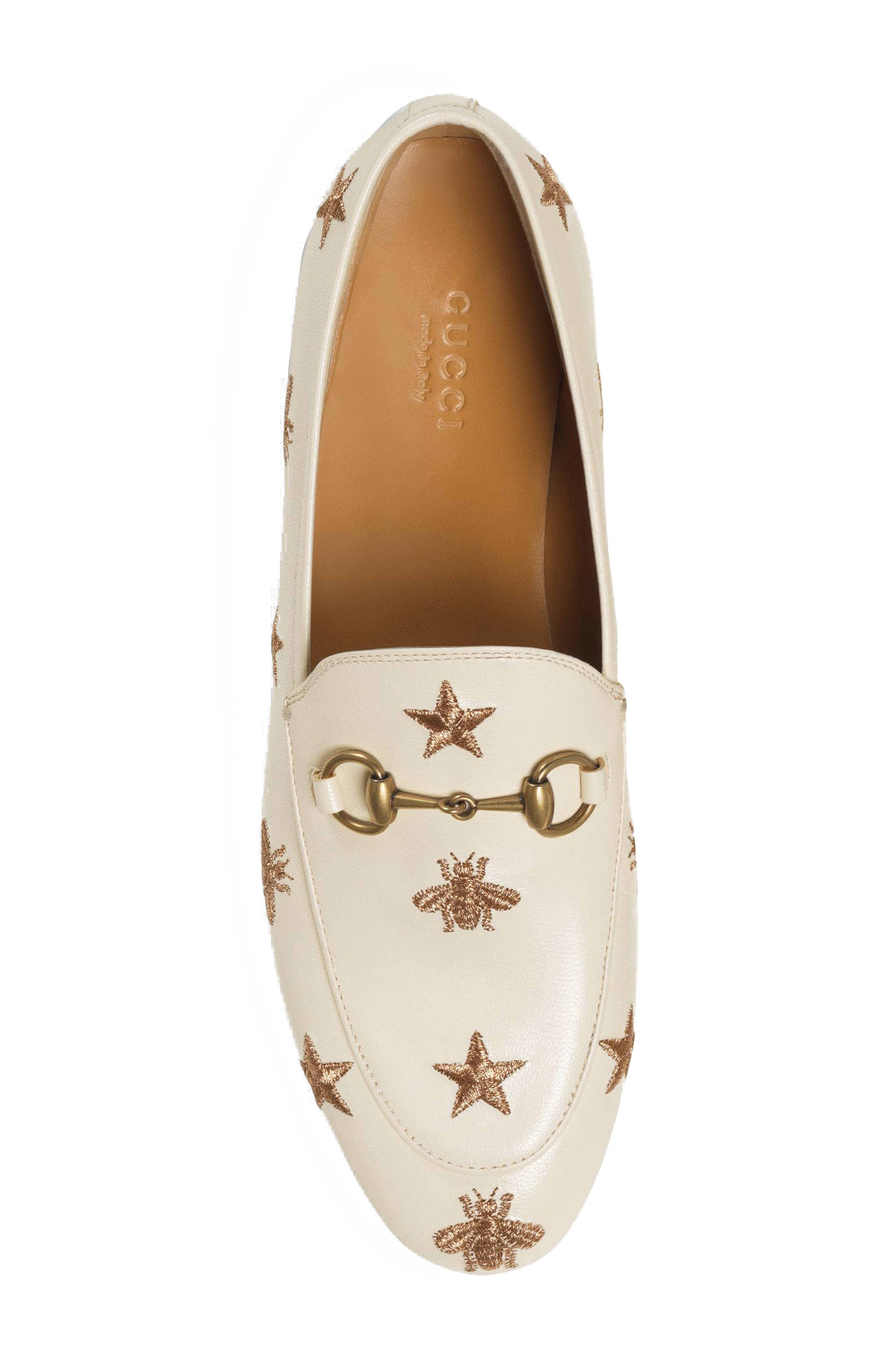 Jordaan Embroidered Bee Loafer,                             Alternate thumbnail 3, color,                             Mystic White