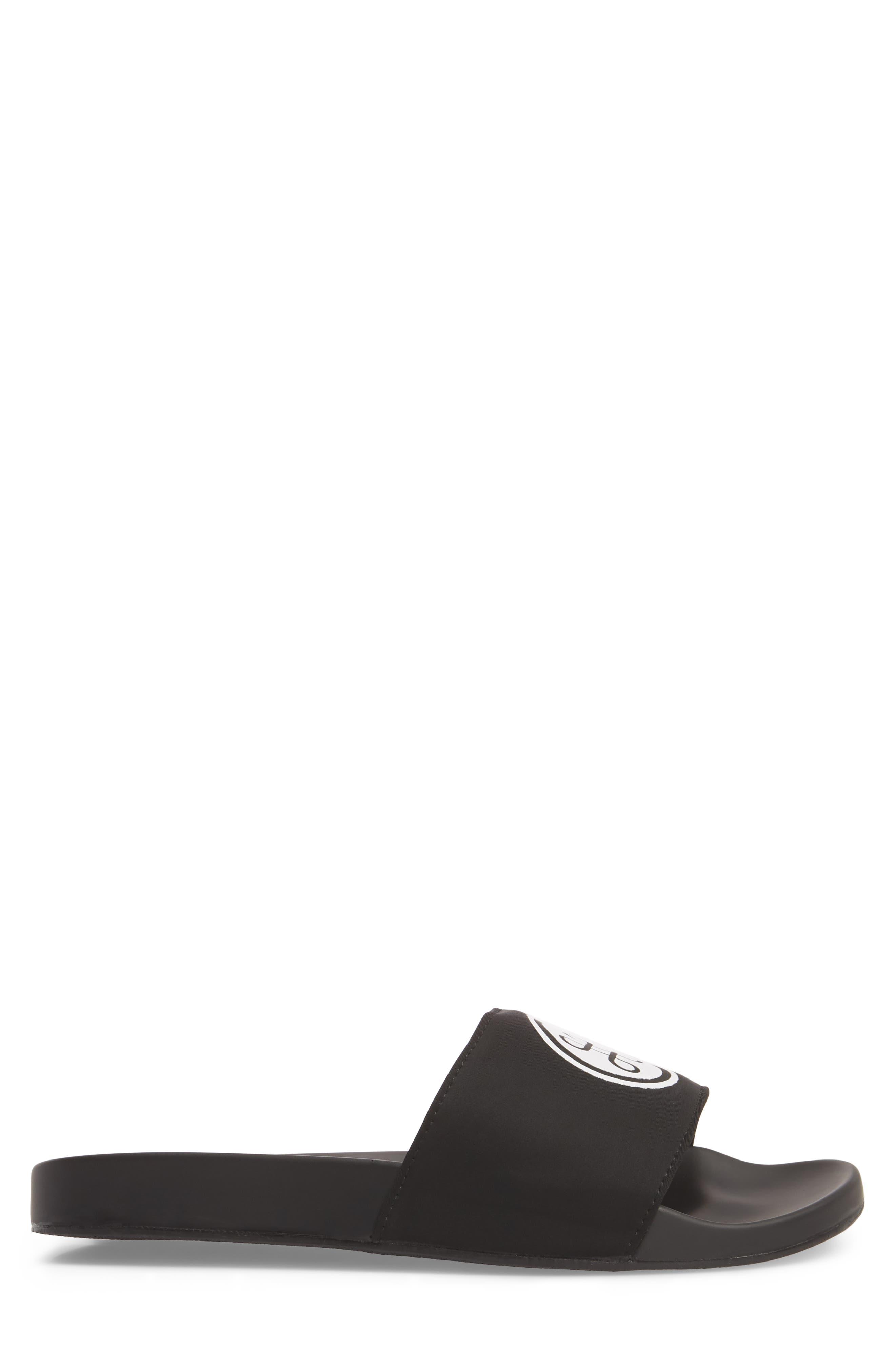 HB Logo Sport Slide,                             Alternate thumbnail 3, color,                             Black Neoprene Fabric