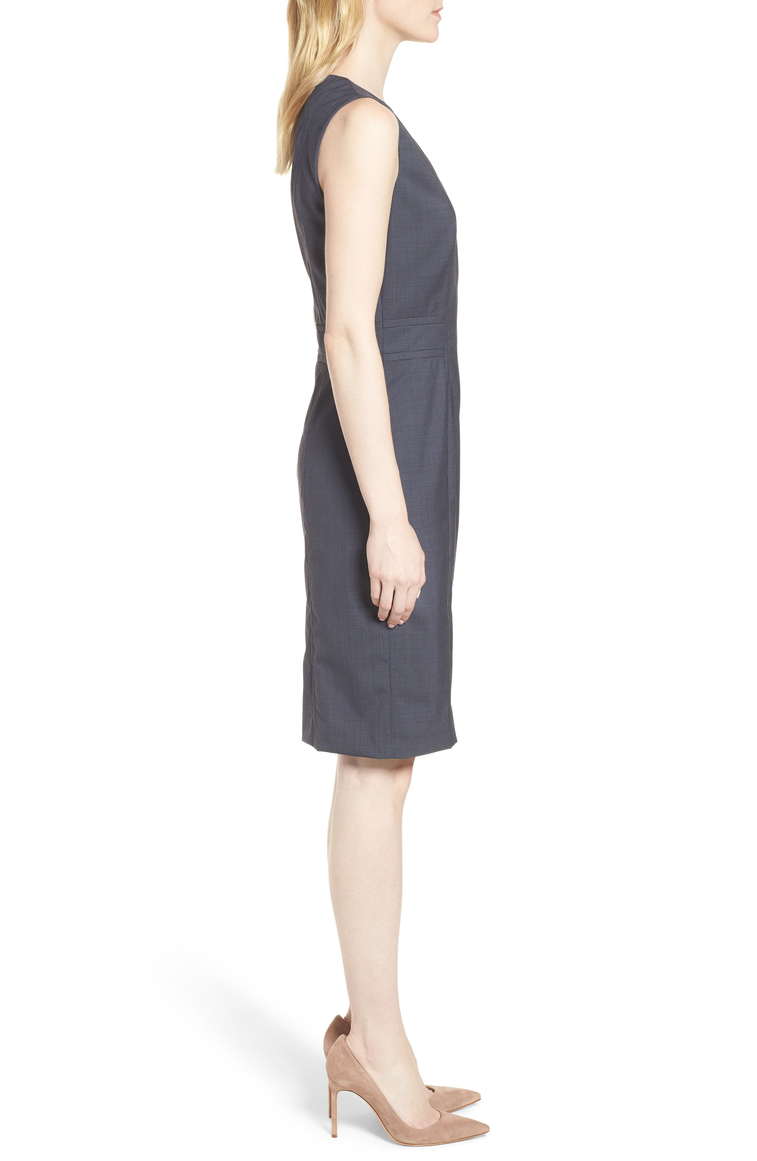 Dalouise Pepita Stretch Wool Sheath Dress,                             Alternate thumbnail 3, color,                             Nautic Blue Fantasy