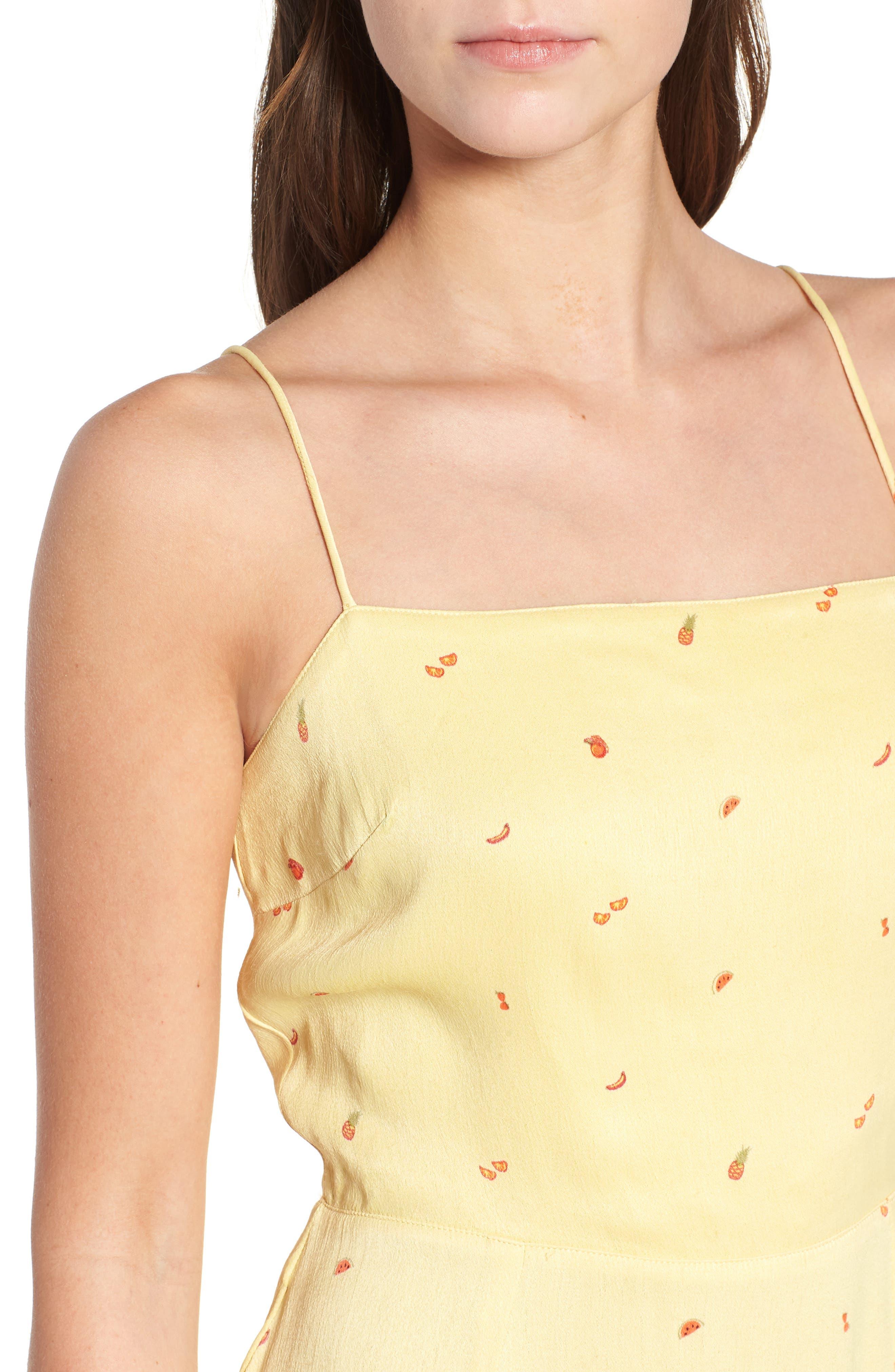 Shilo Fruit Print Minidress,                             Alternate thumbnail 4, color,                             Yellow Multi