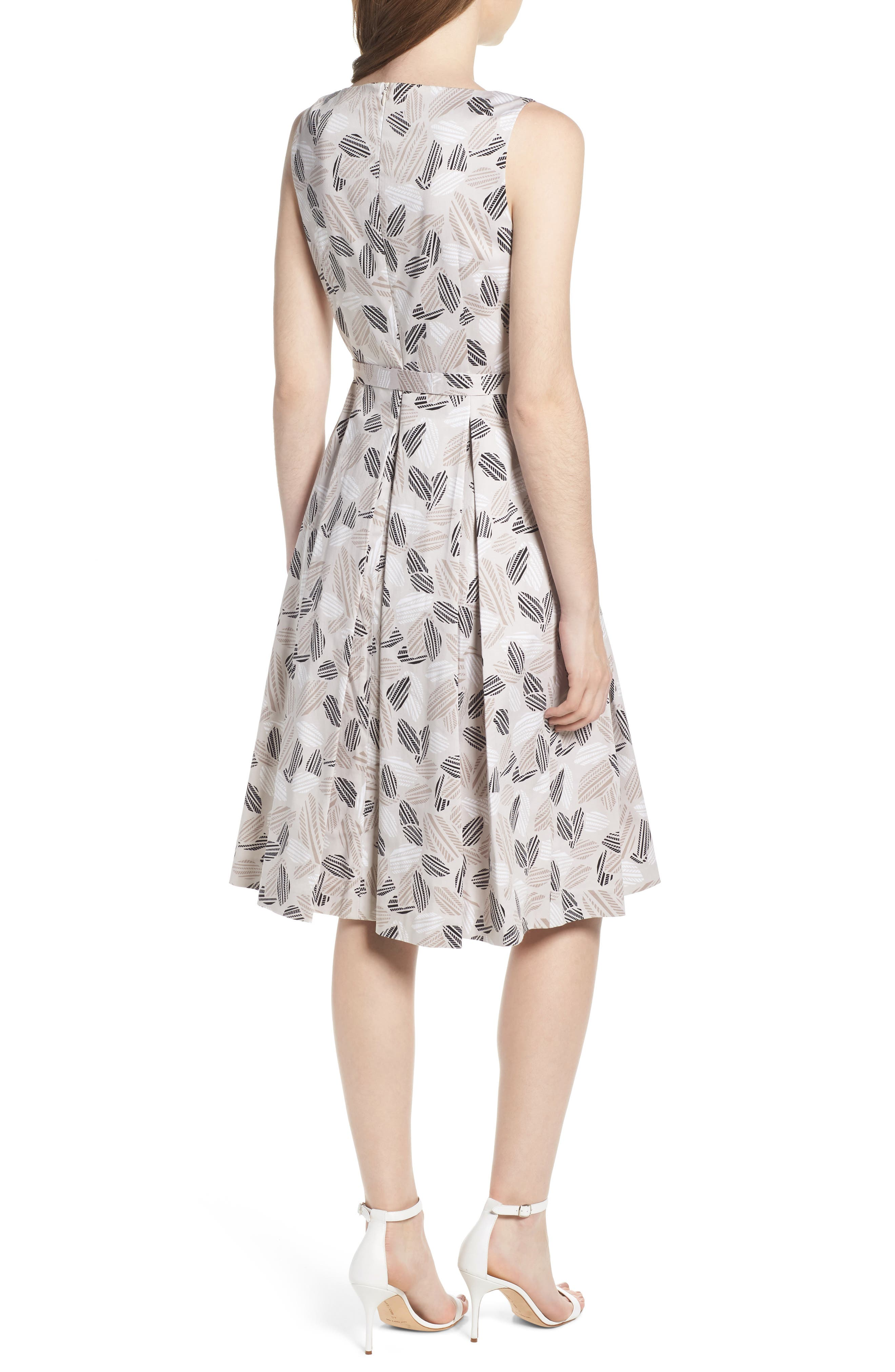 Leaf Print Fit And Flare Dress,                             Alternate thumbnail 2, color,                             Parchment/ Oyster Shell Combo