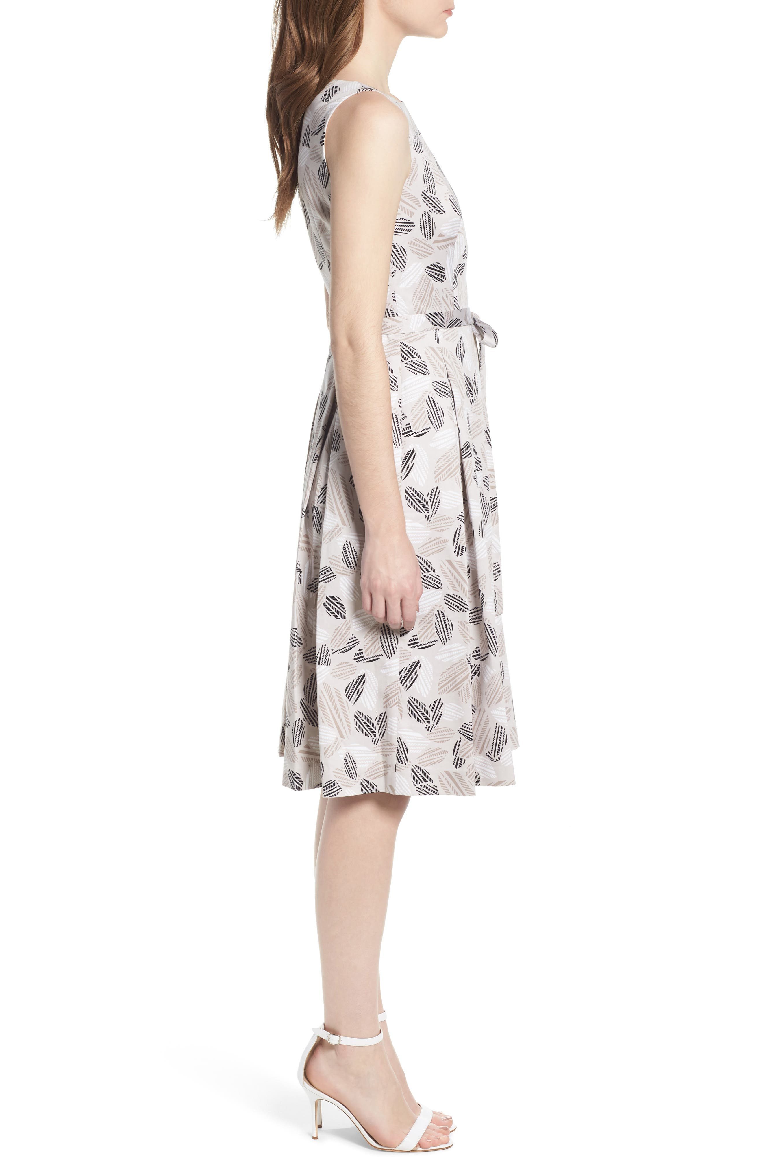 Leaf Print Fit And Flare Dress,                             Alternate thumbnail 3, color,                             Parchment/ Oyster Shell Combo