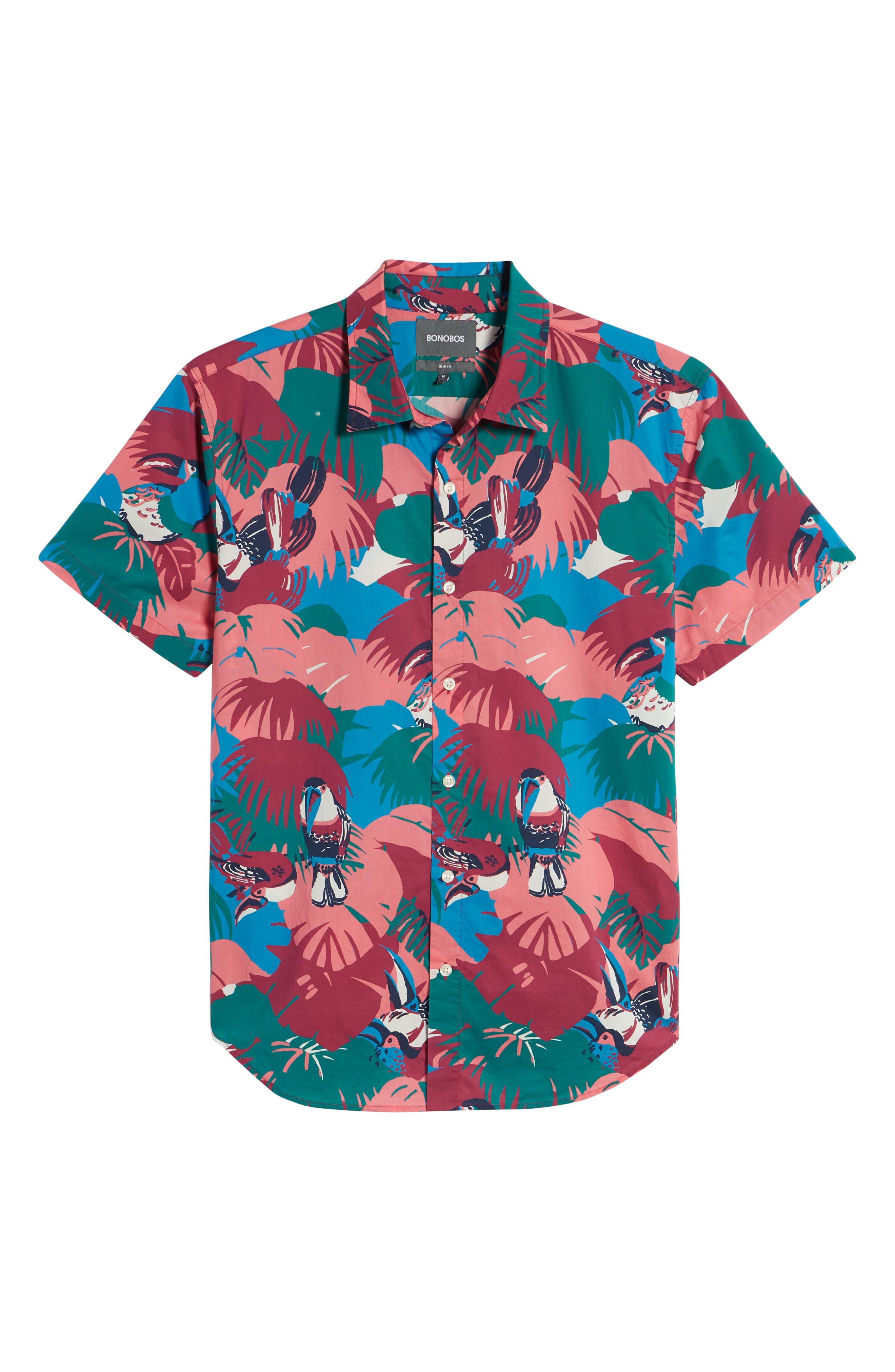 Riviera Slim Fit Toucan Print Sport Shirt,                             Alternate thumbnail 6, color,                             Toucan Tropics - Peony Coral