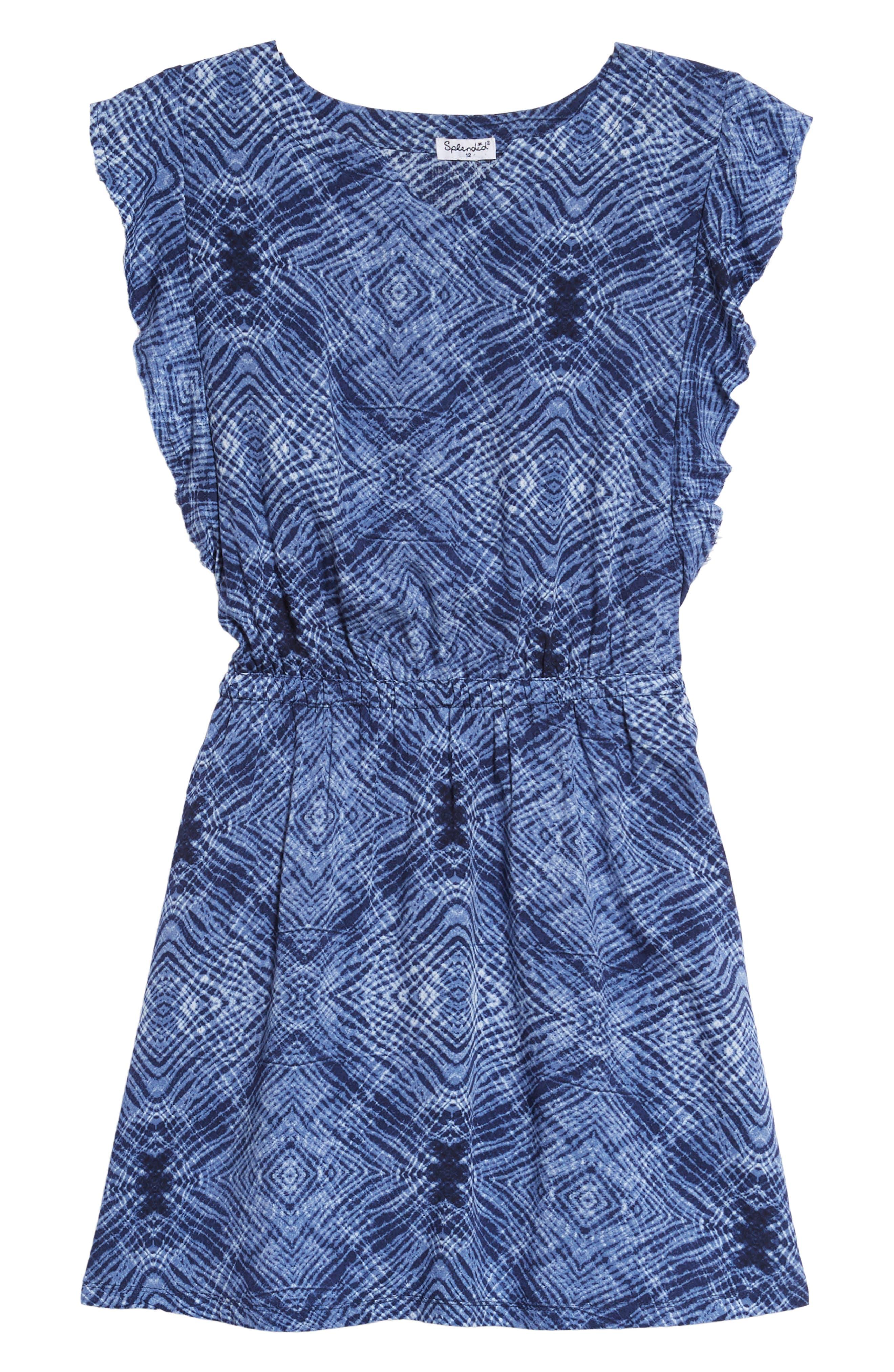 Print Voile Dress,                         Main,                         color, Navy