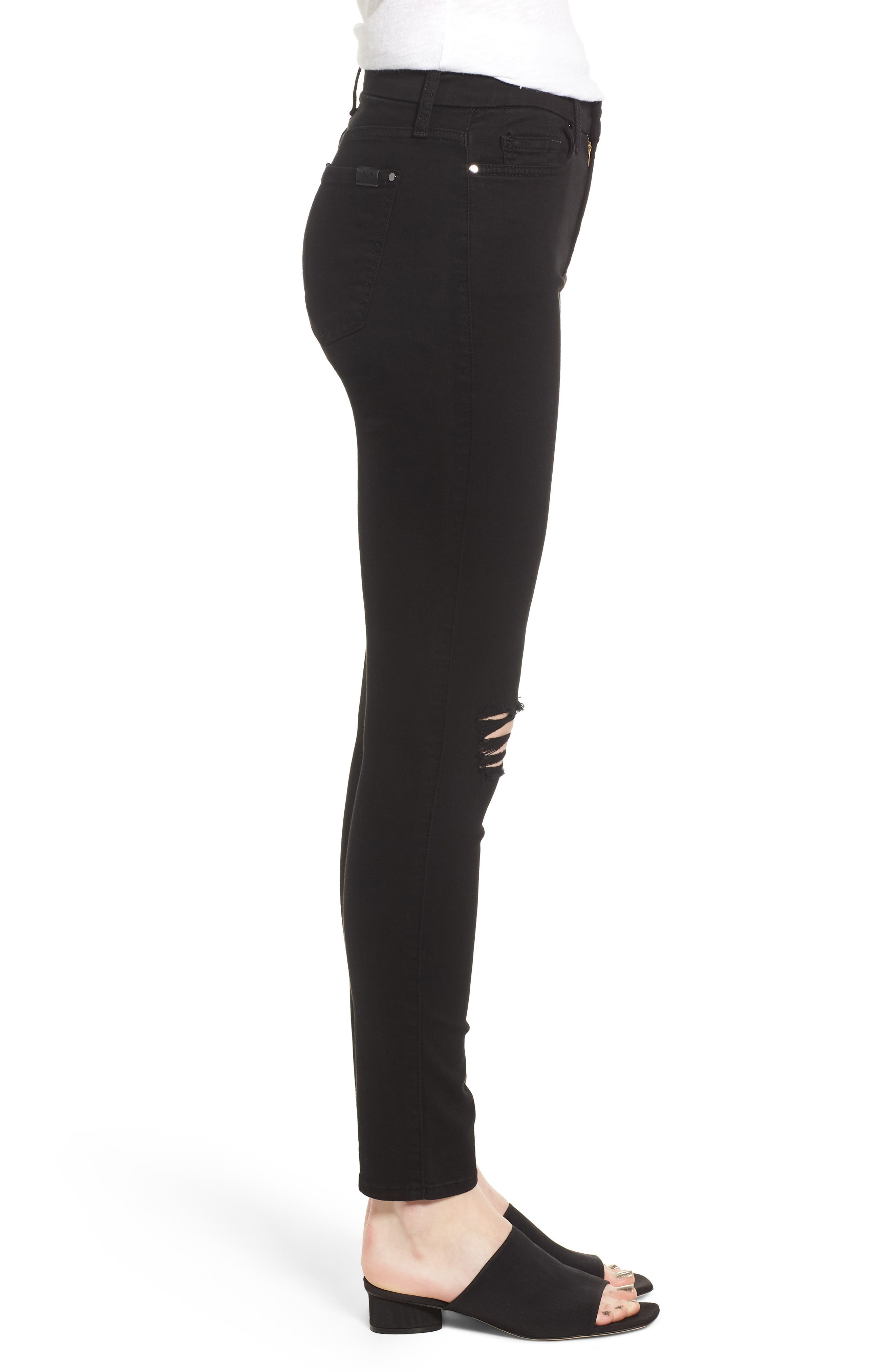 Ripped Ankle Skinny Jeans,                             Alternate thumbnail 3, color,                             Riche Touch Black Noir2