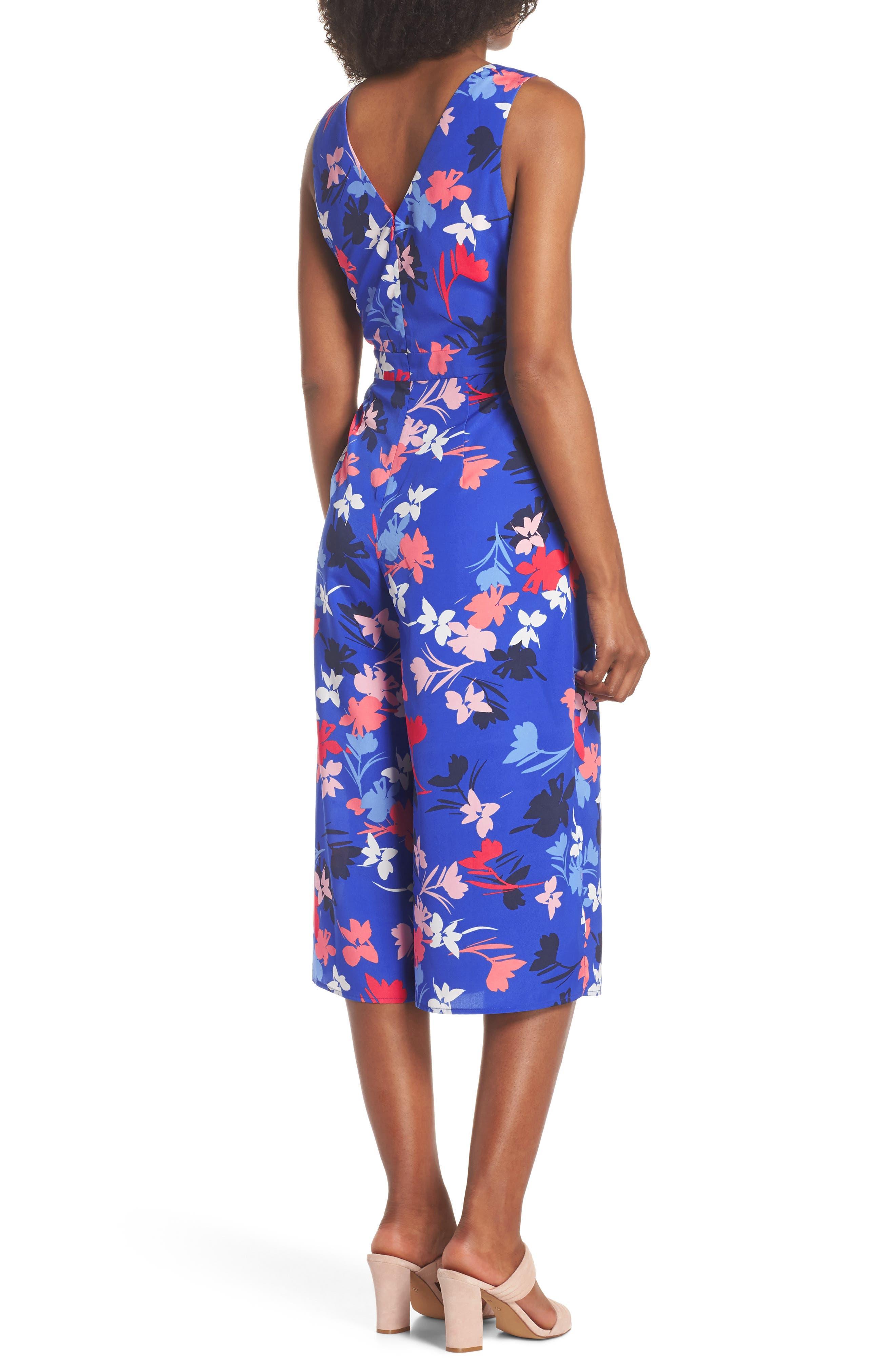 Floral Print Crop Jumpsuit,                             Alternate thumbnail 2, color,                             Blue/ Pink