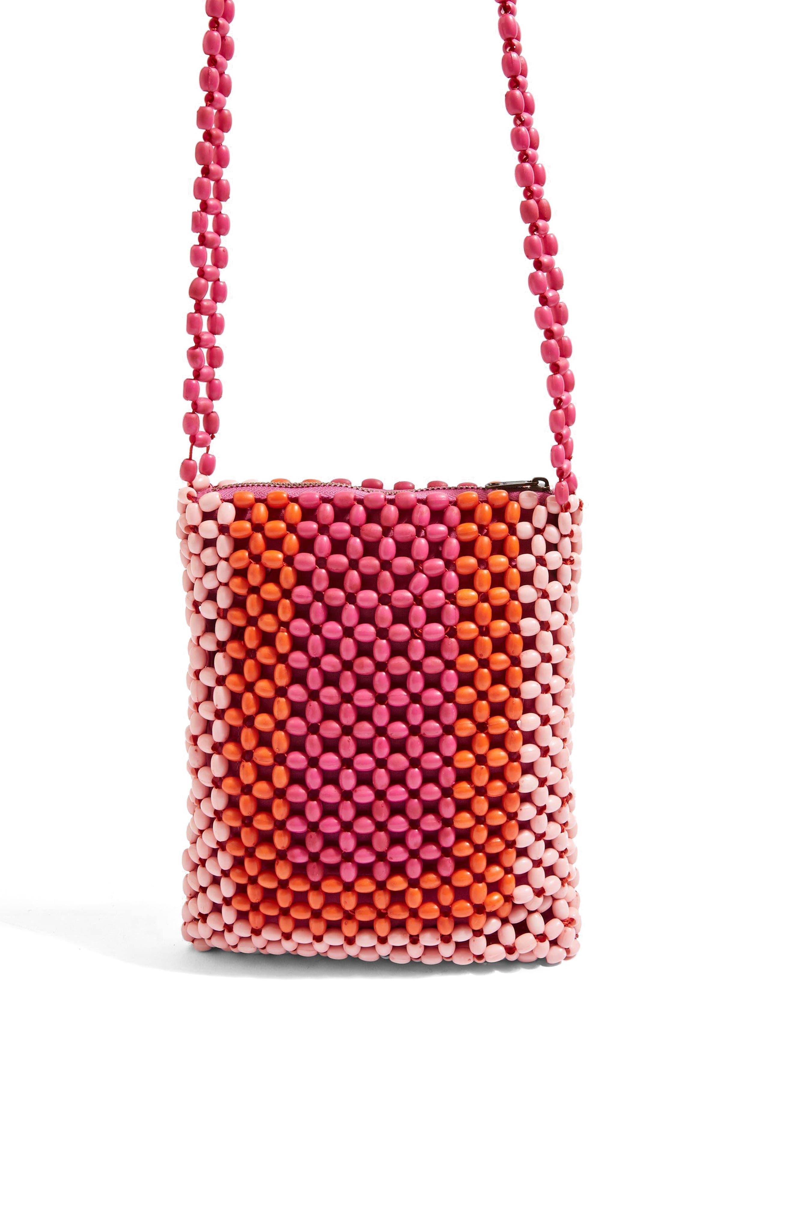 Topshop Pink Beaded Crossbody Bag