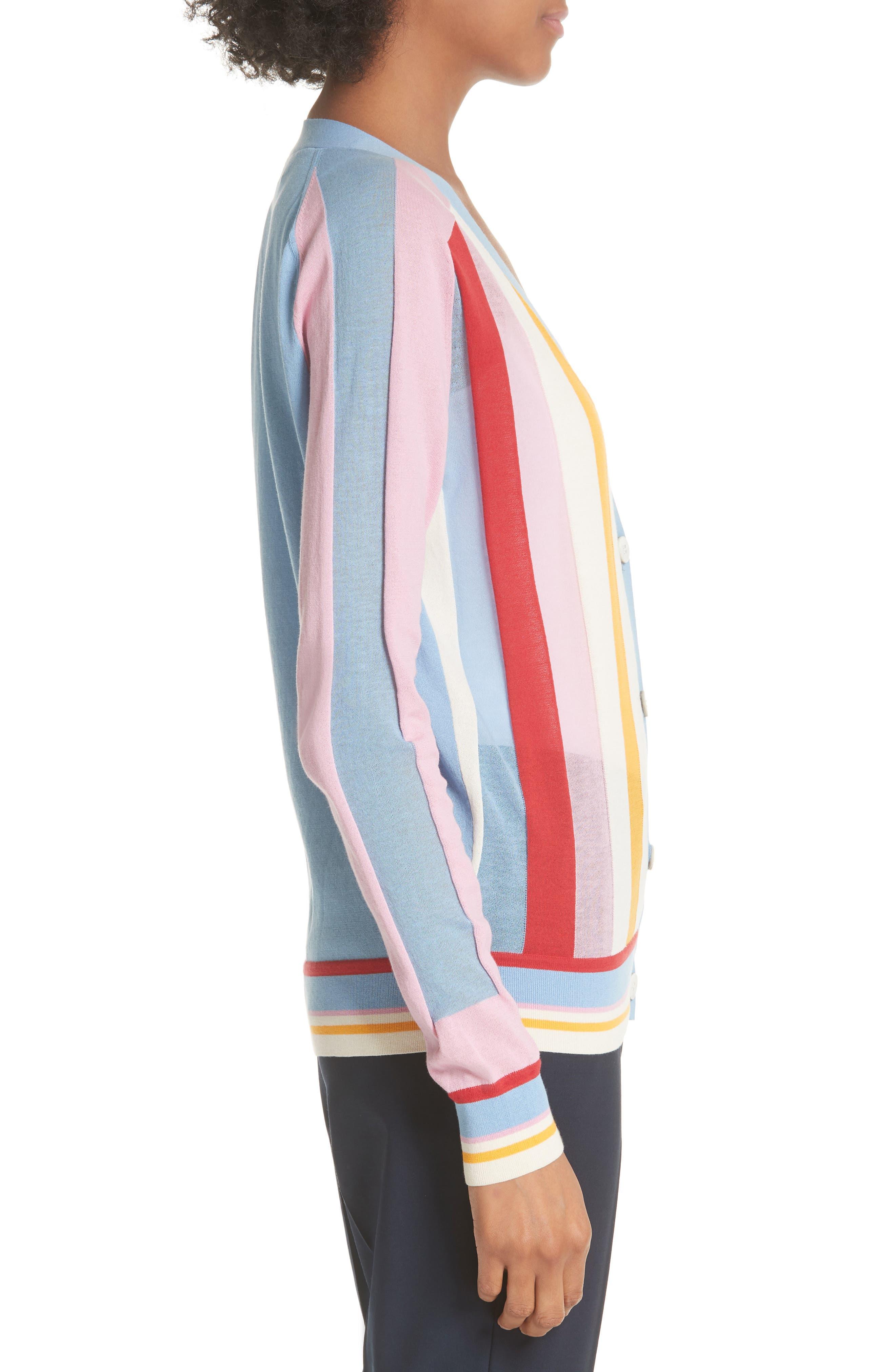 Diane von Furstenberg Colorblock Stripe Cardigan,                             Alternate thumbnail 3, color,                             Taffy Multi