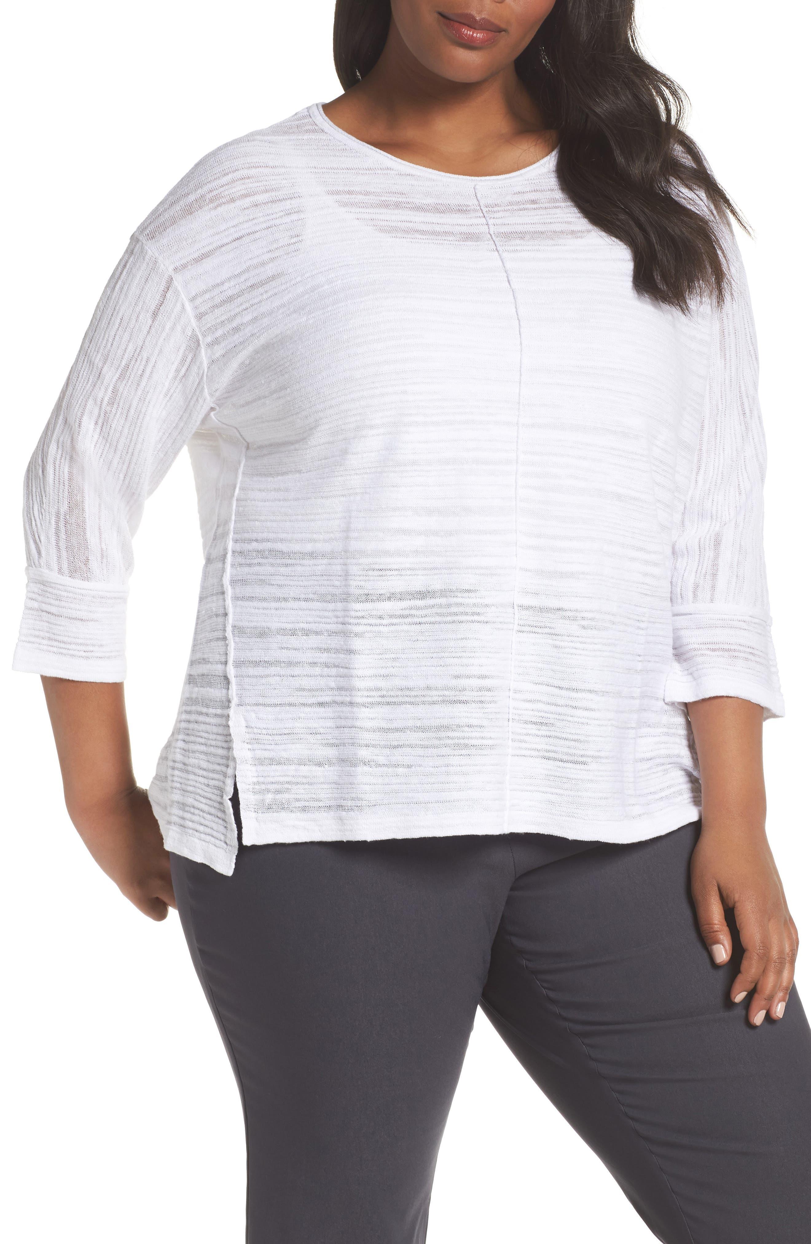 NIC+ZOE Sand Dune Linen Blend Sweater (Plus Size)