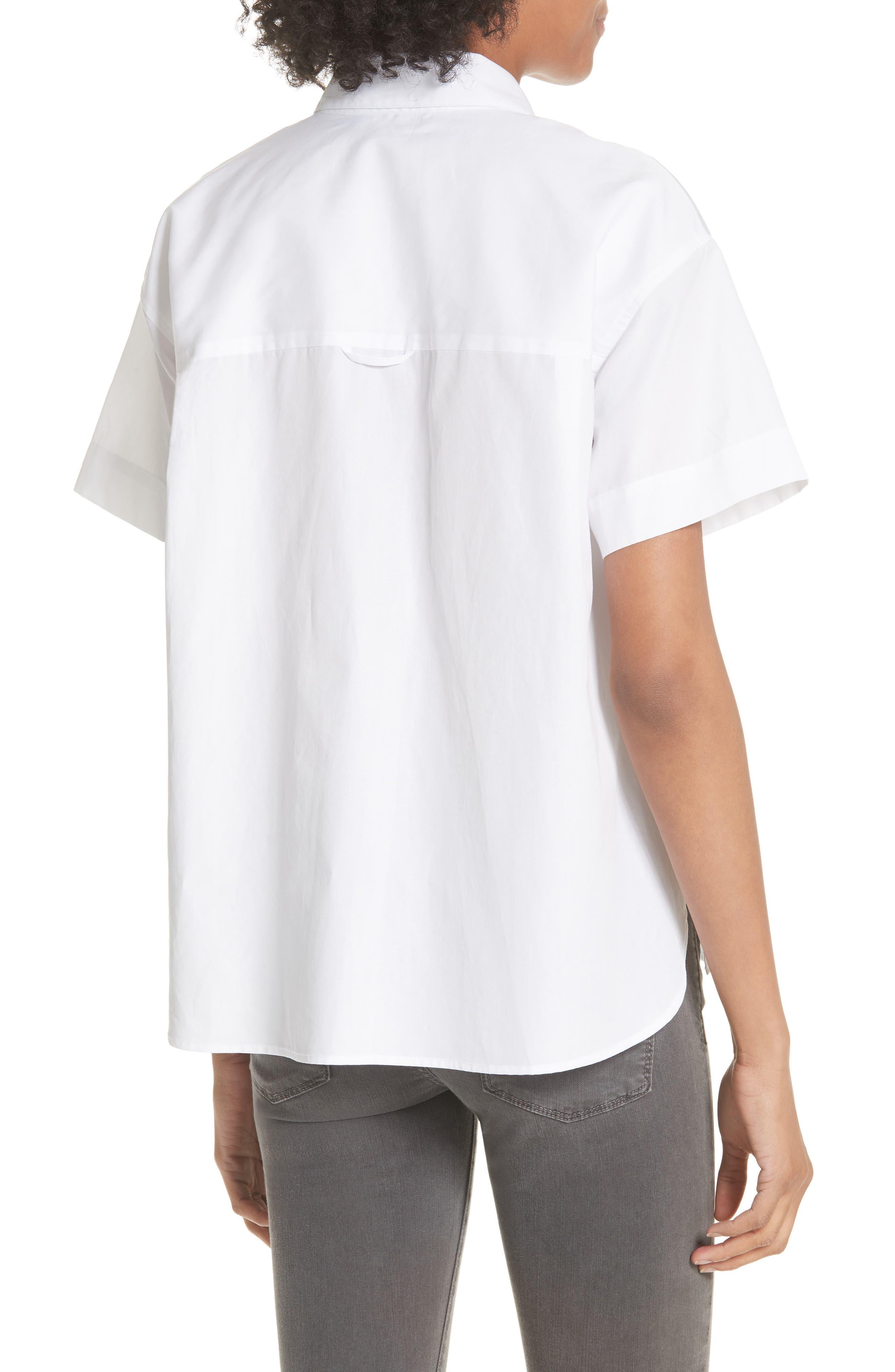 Short Sleeve Cotton Shirt,                             Alternate thumbnail 2, color,                             Optic White