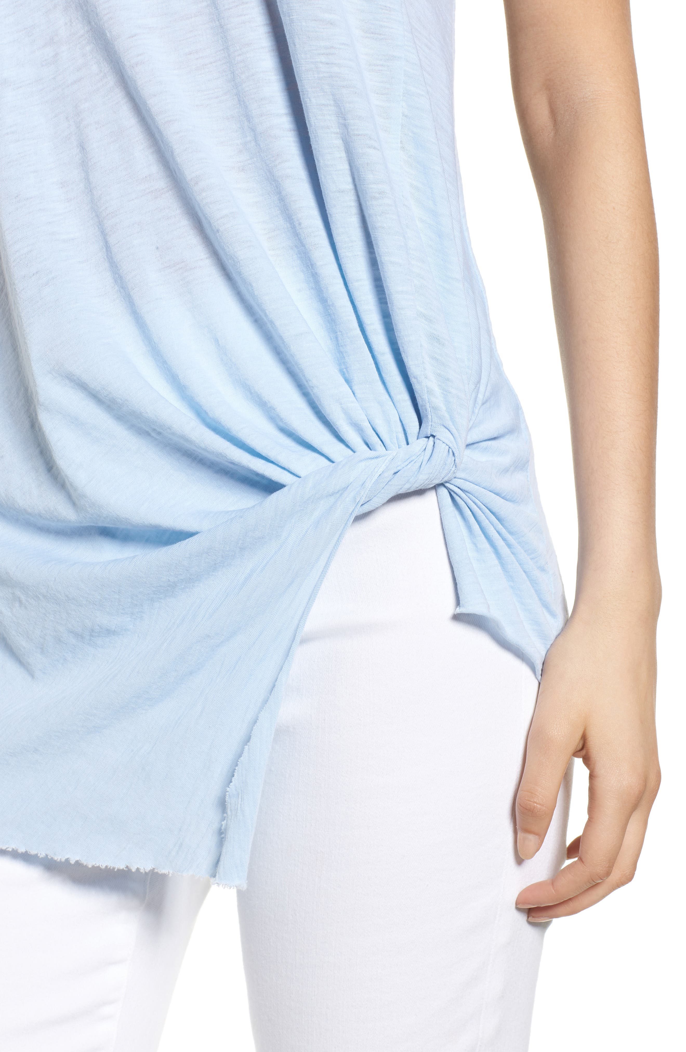 Twist Hem Slub Supima<sup>®</sup> Cotton Tank,                             Alternate thumbnail 4, color,                             Celeste