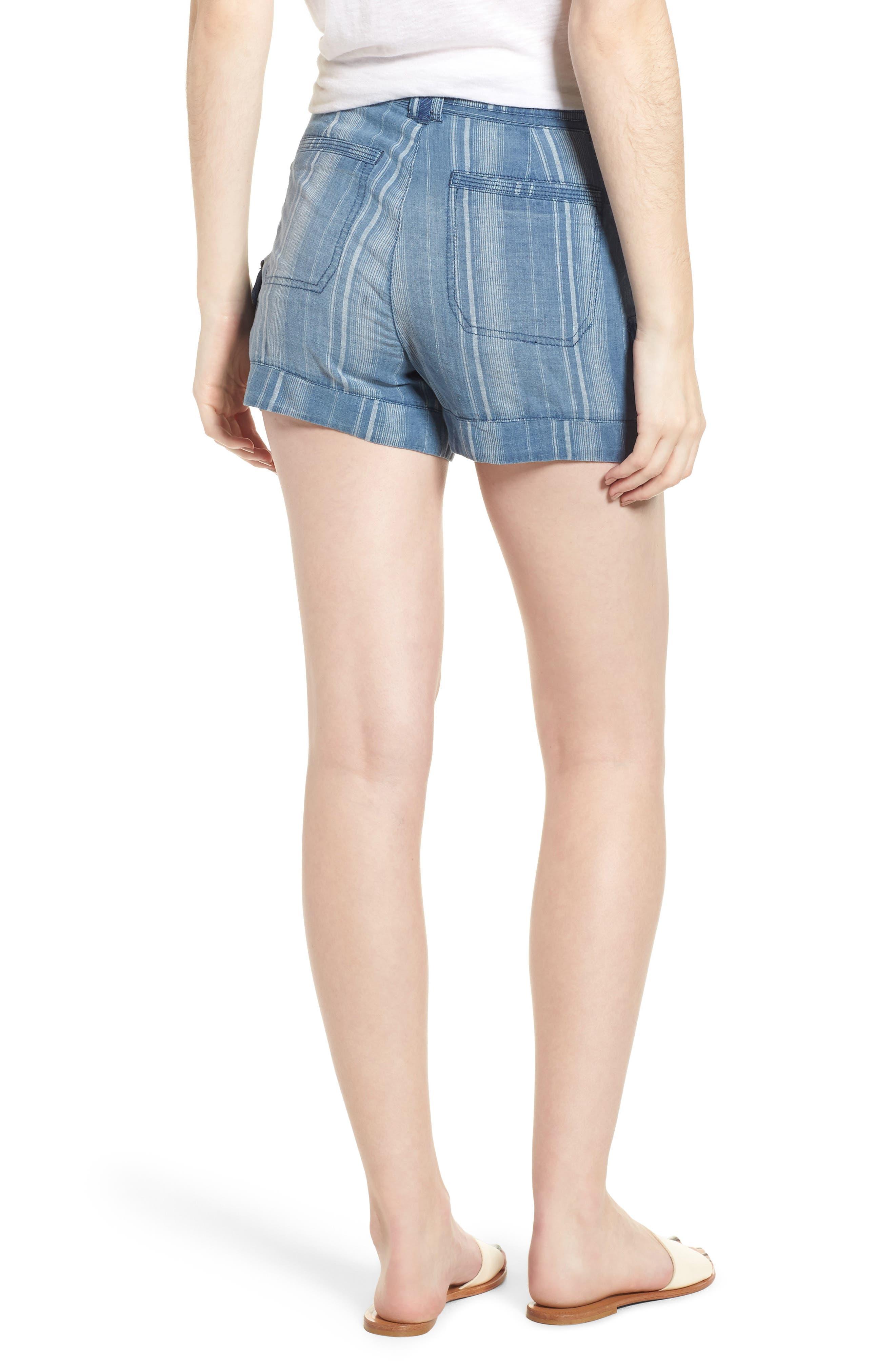 High Rise Striped Shorts,                             Alternate thumbnail 2, color,                             Blue Stripe