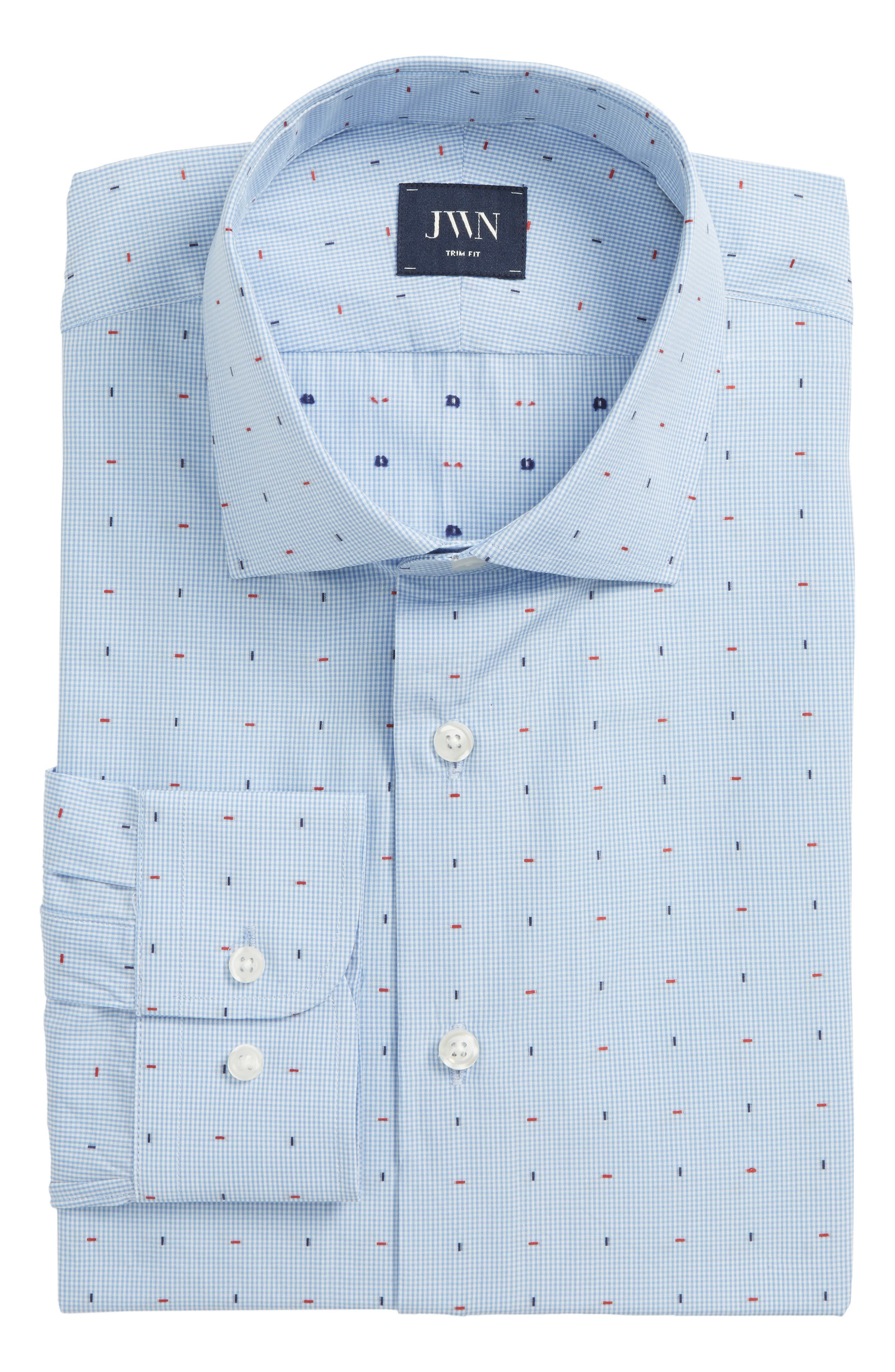 Traditional Fit Check Dress Shirt,                             Alternate thumbnail 6, color,                             Blue Bel Air