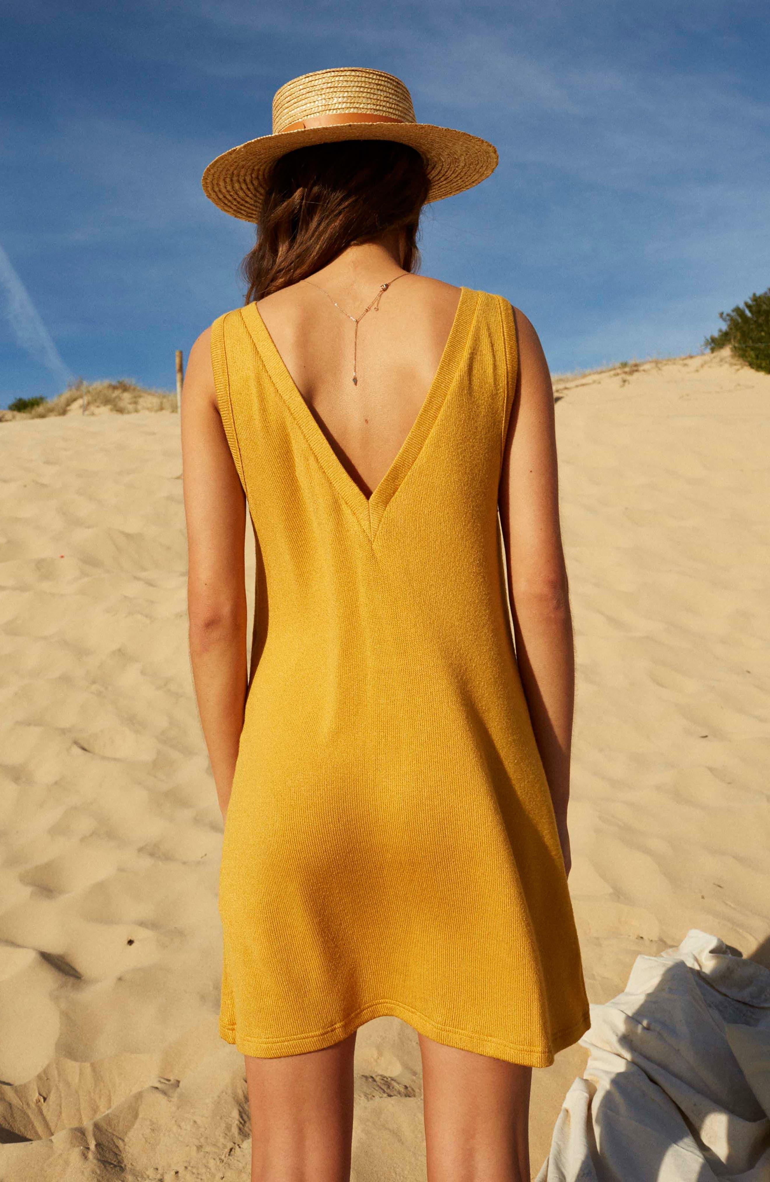 Heat Rising Lace-Up Dress,                             Alternate thumbnail 8, color,                             Saffron