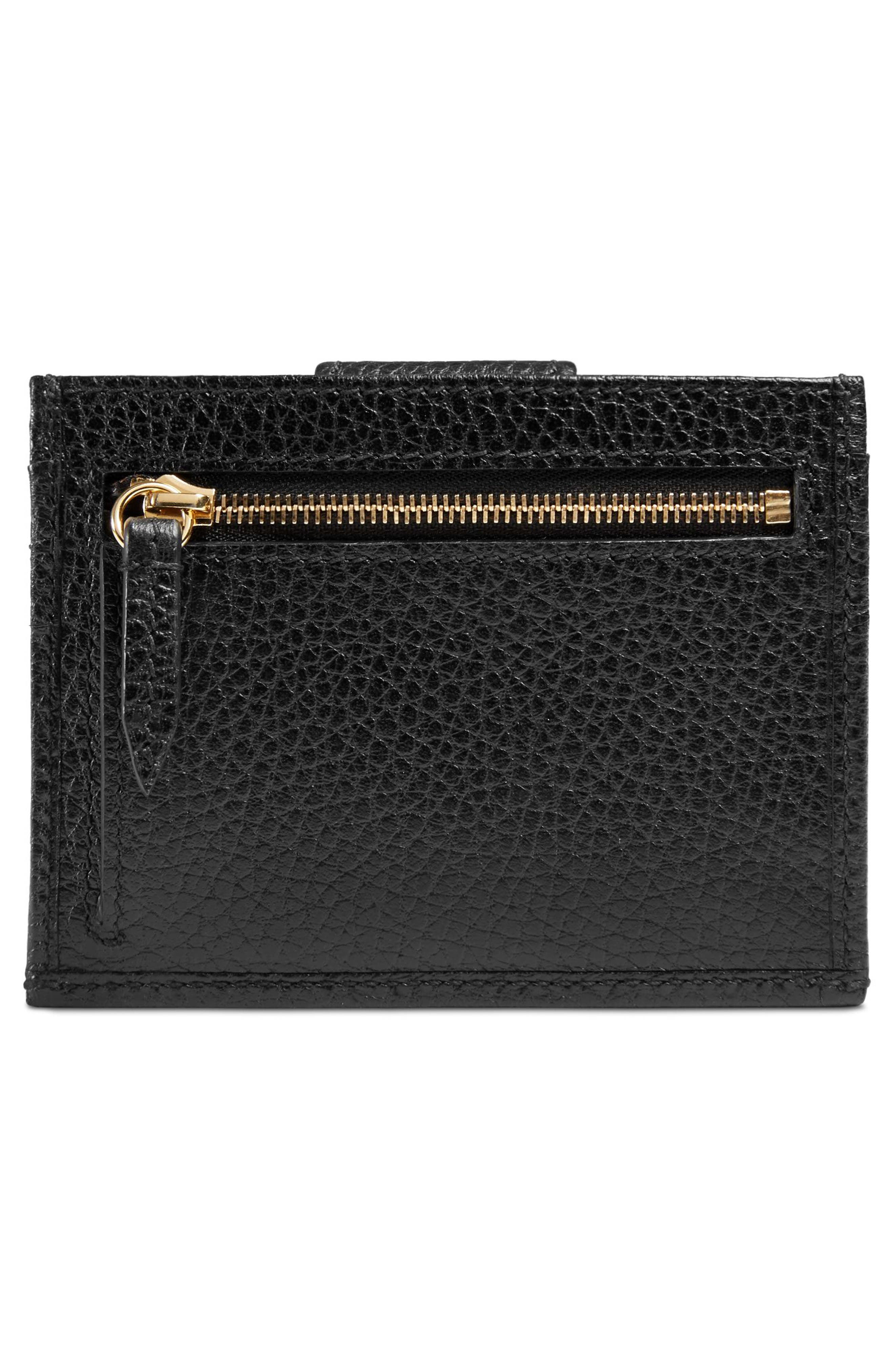 GG Marmont Leather Card Case,                             Alternate thumbnail 3, color,                             Nero