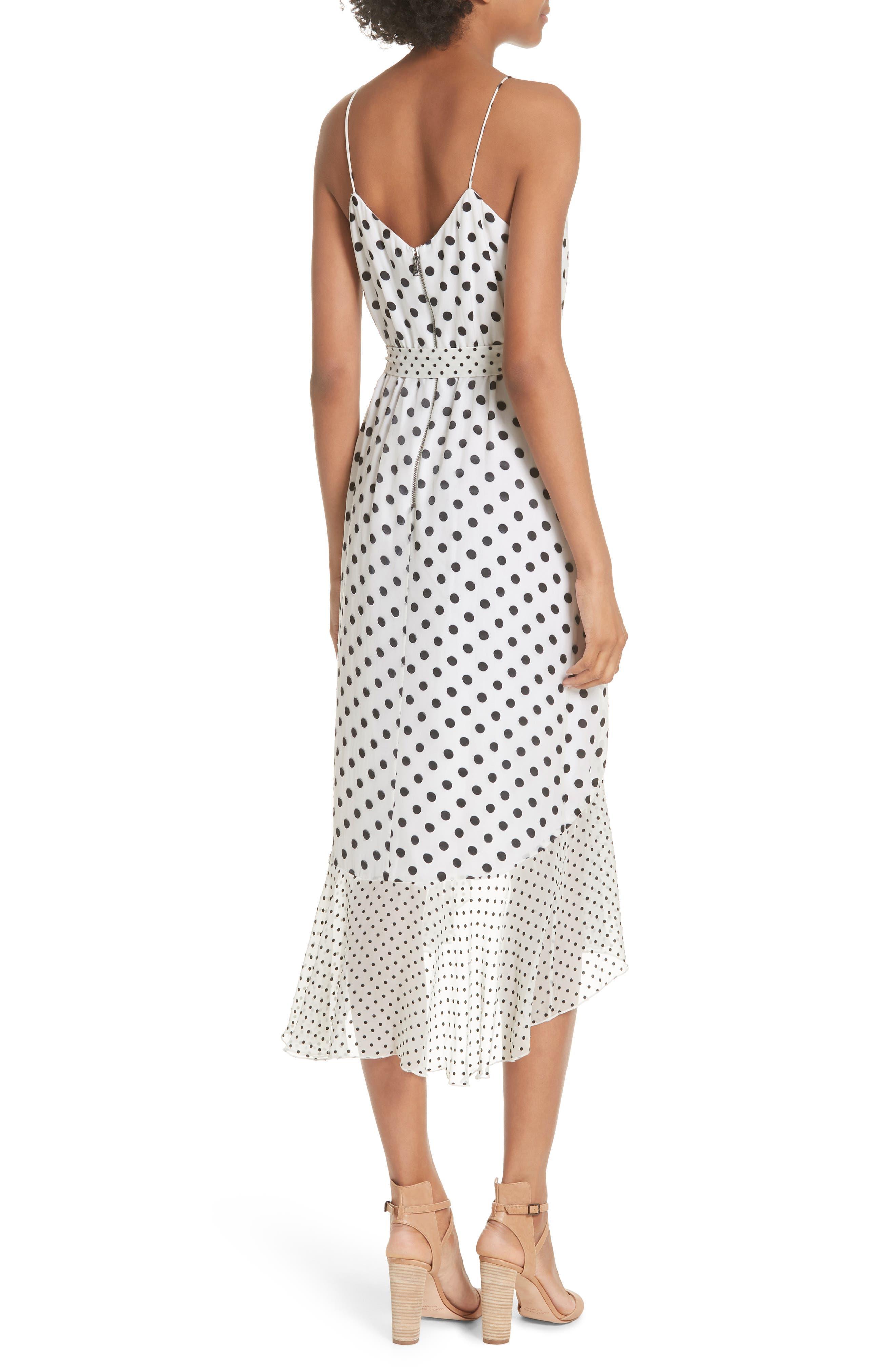 Ruffle Faux Wrap Dress,                             Alternate thumbnail 2, color,                             Soft White Mono Dot