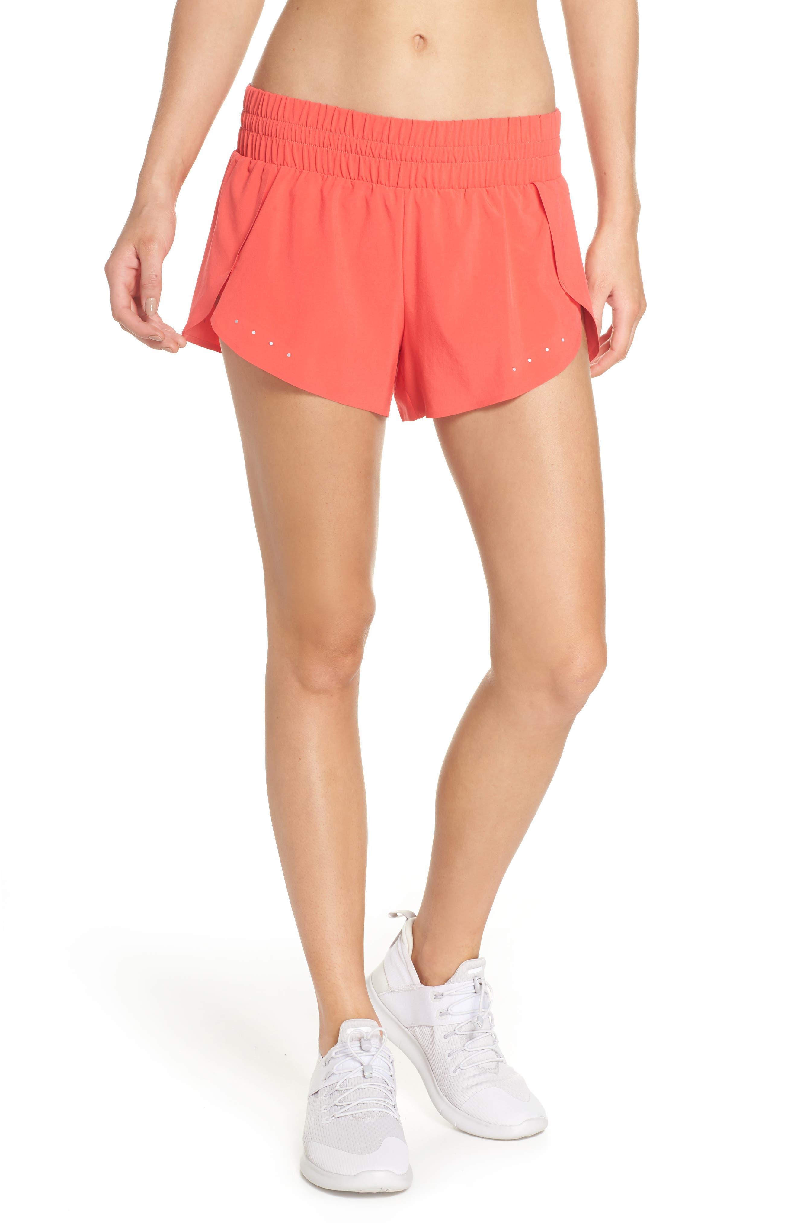 Run Play Shorts,                             Main thumbnail 1, color,                             Red Hibiscus