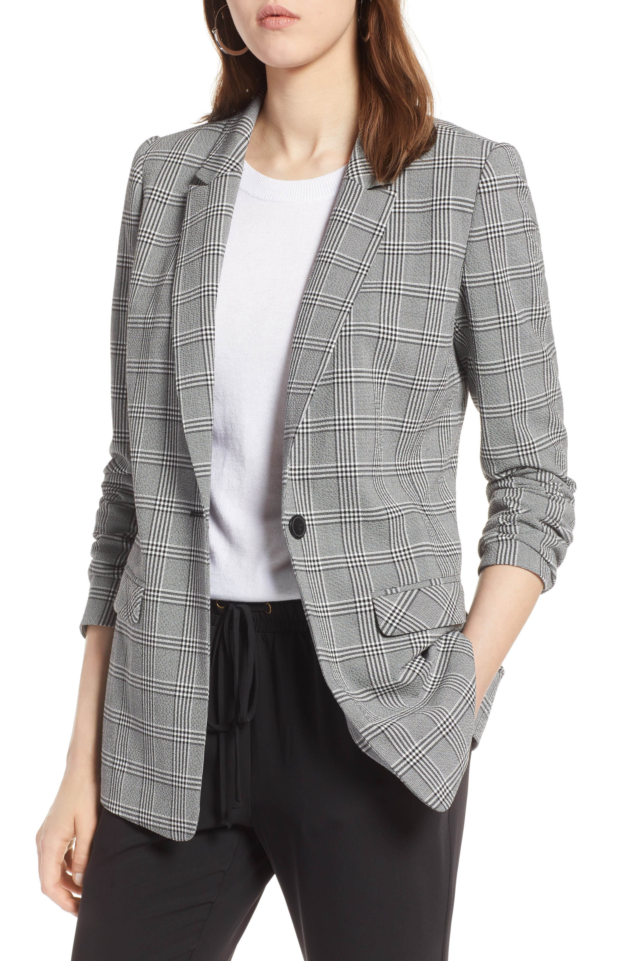 Glen Plaid Blazer,                         Main,                         color, Black- White Glen Check