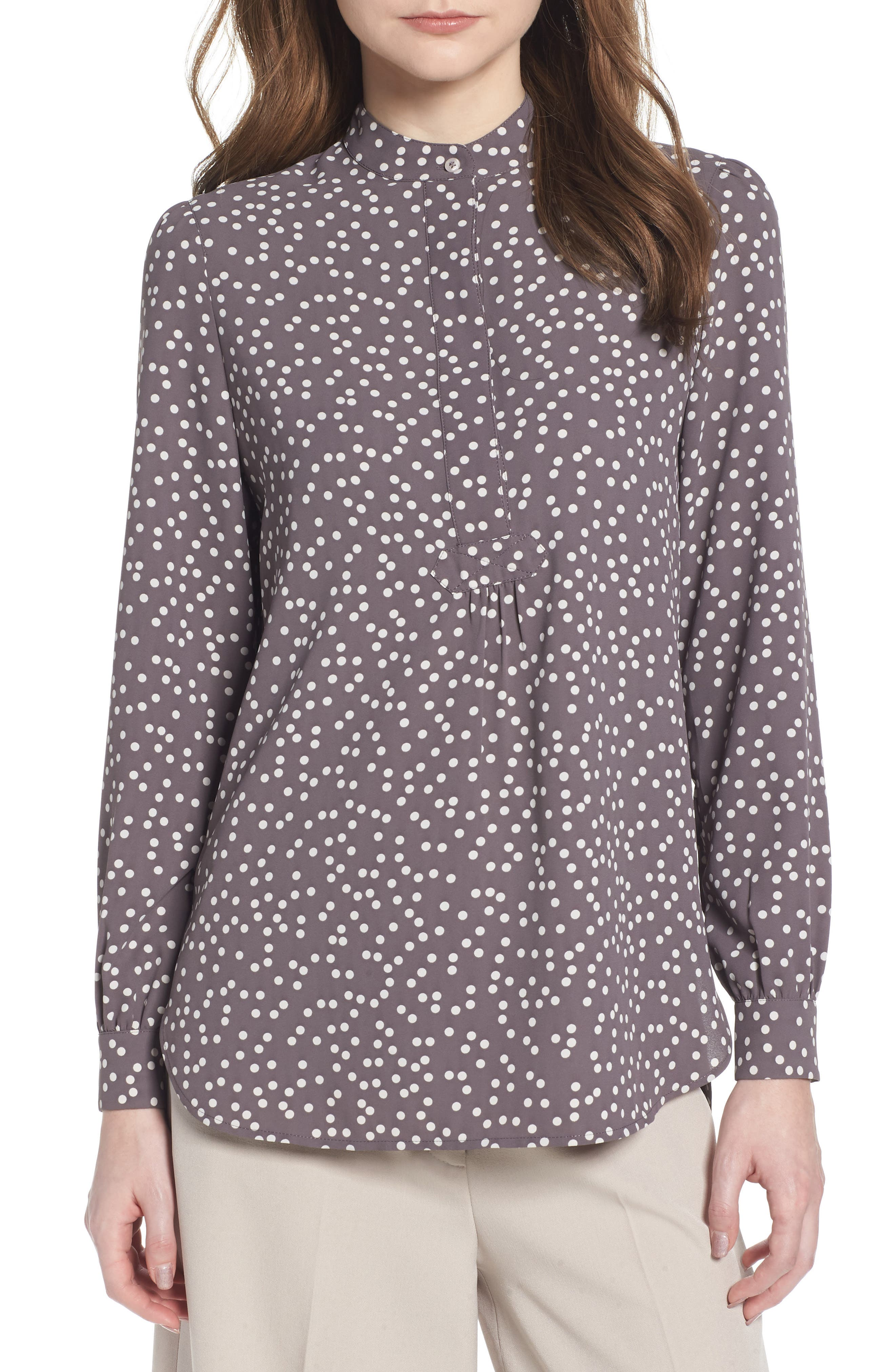 Dot Print Long Sleeve Blouse,                         Main,                         color, Nantucket Grey/ Oyster Shell