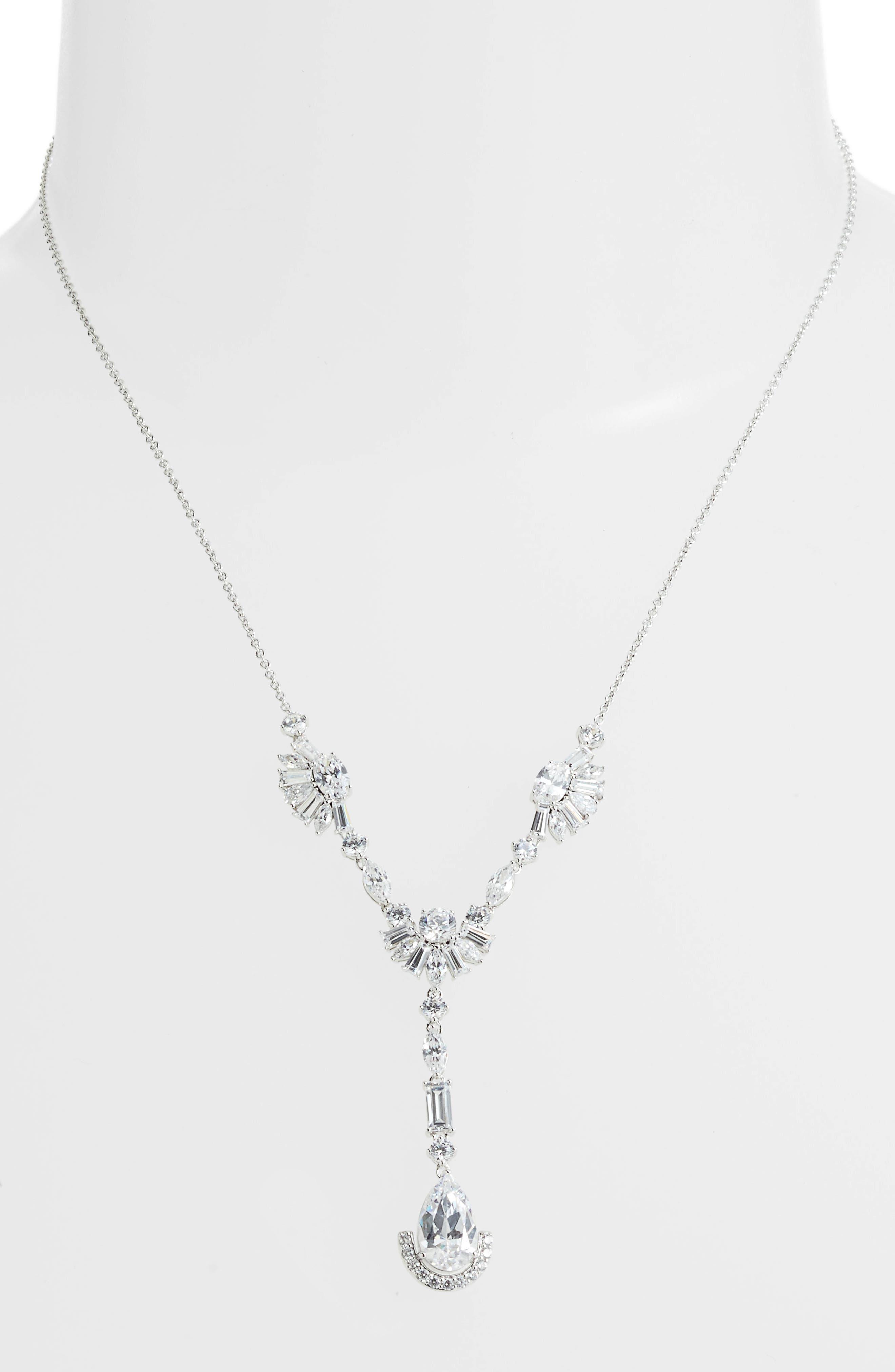 Fanfare Y-Shape Necklace,                             Main thumbnail 1, color,                             Silver