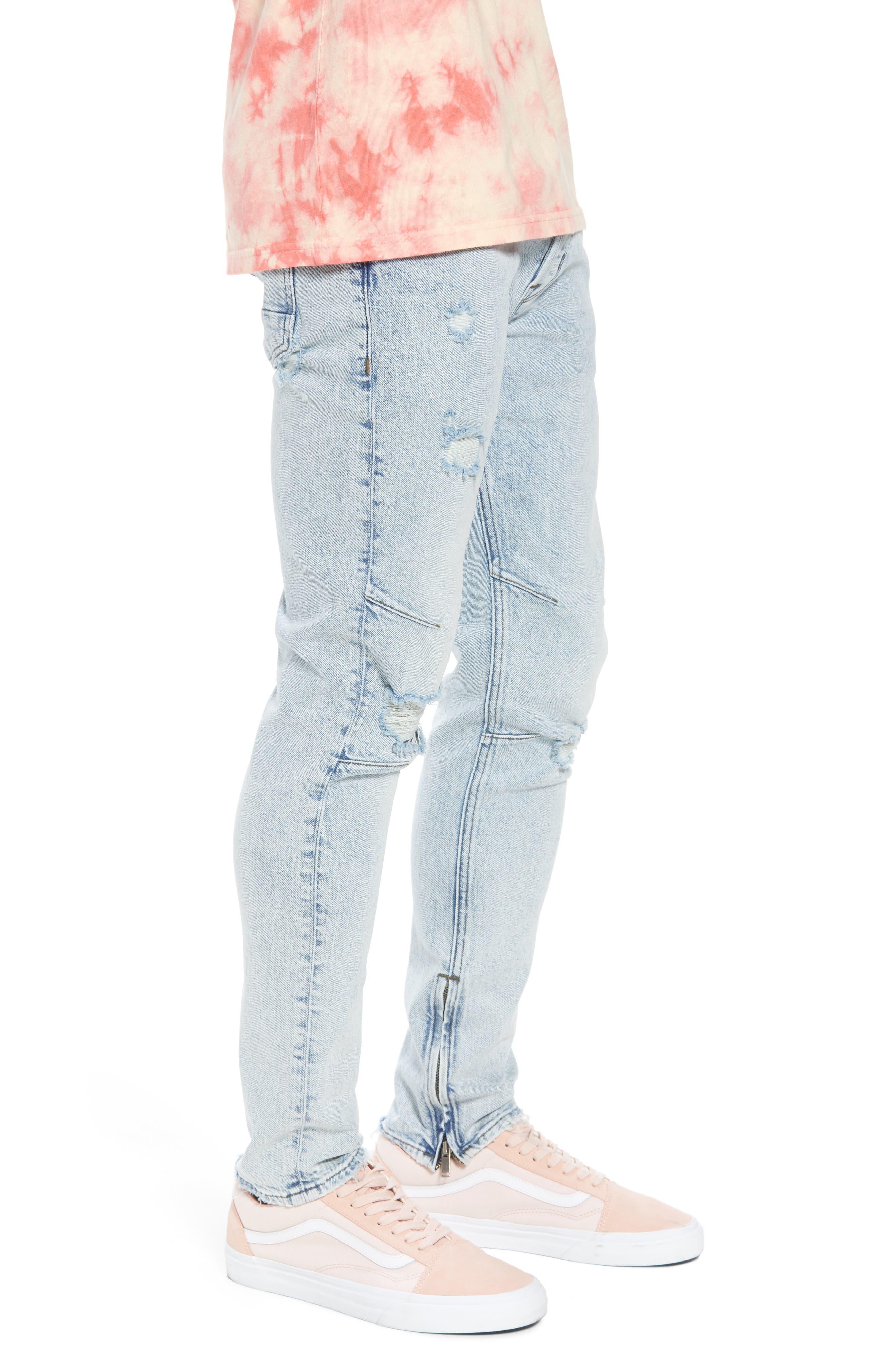 Vaughn Biker Skinny Fit Jeans,                             Alternate thumbnail 3, color,                             Echo Park