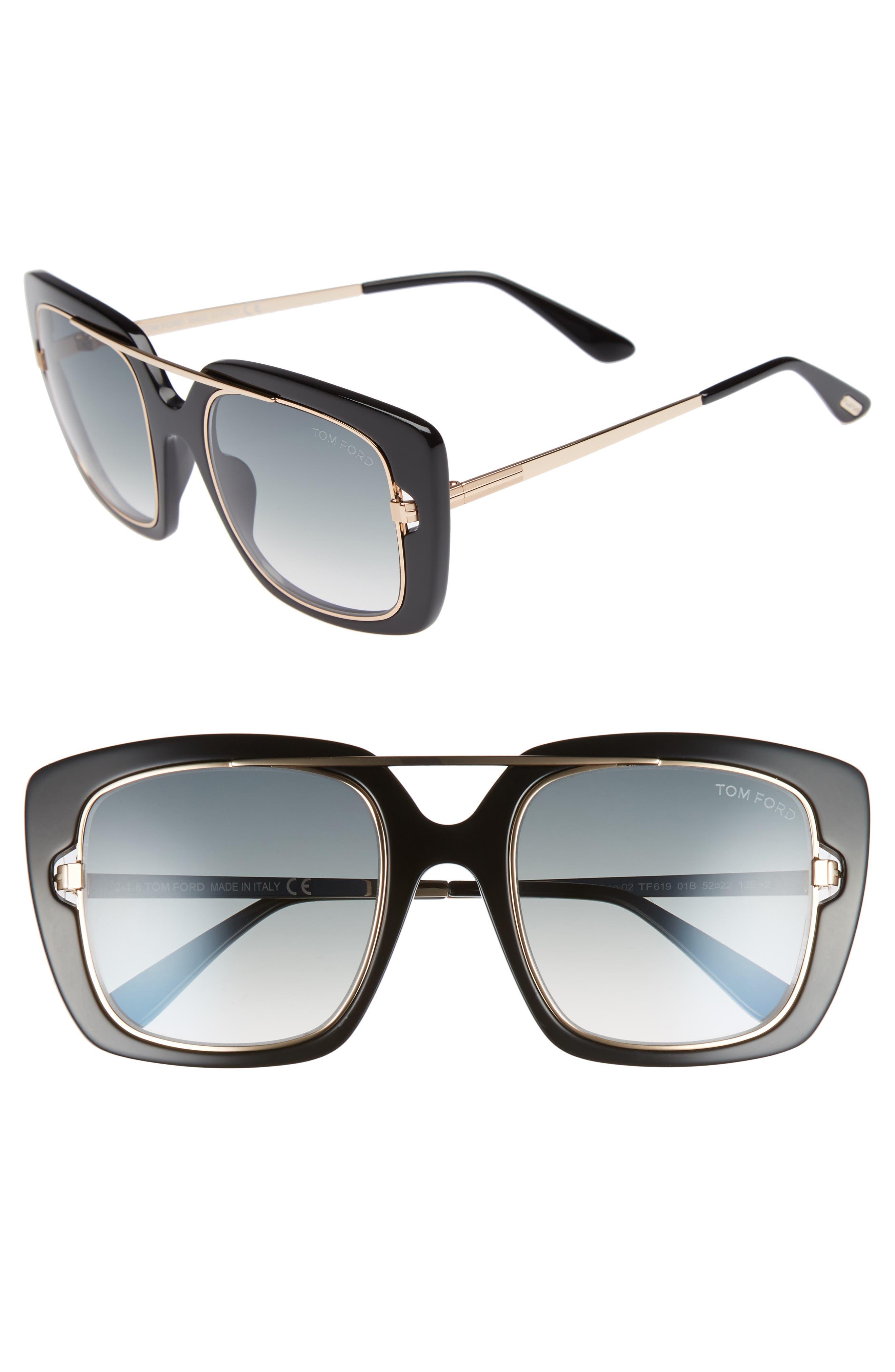 Marissa 52mm Sunglasses,                         Main,                         color, Shiny Black/ Gradient Smoke