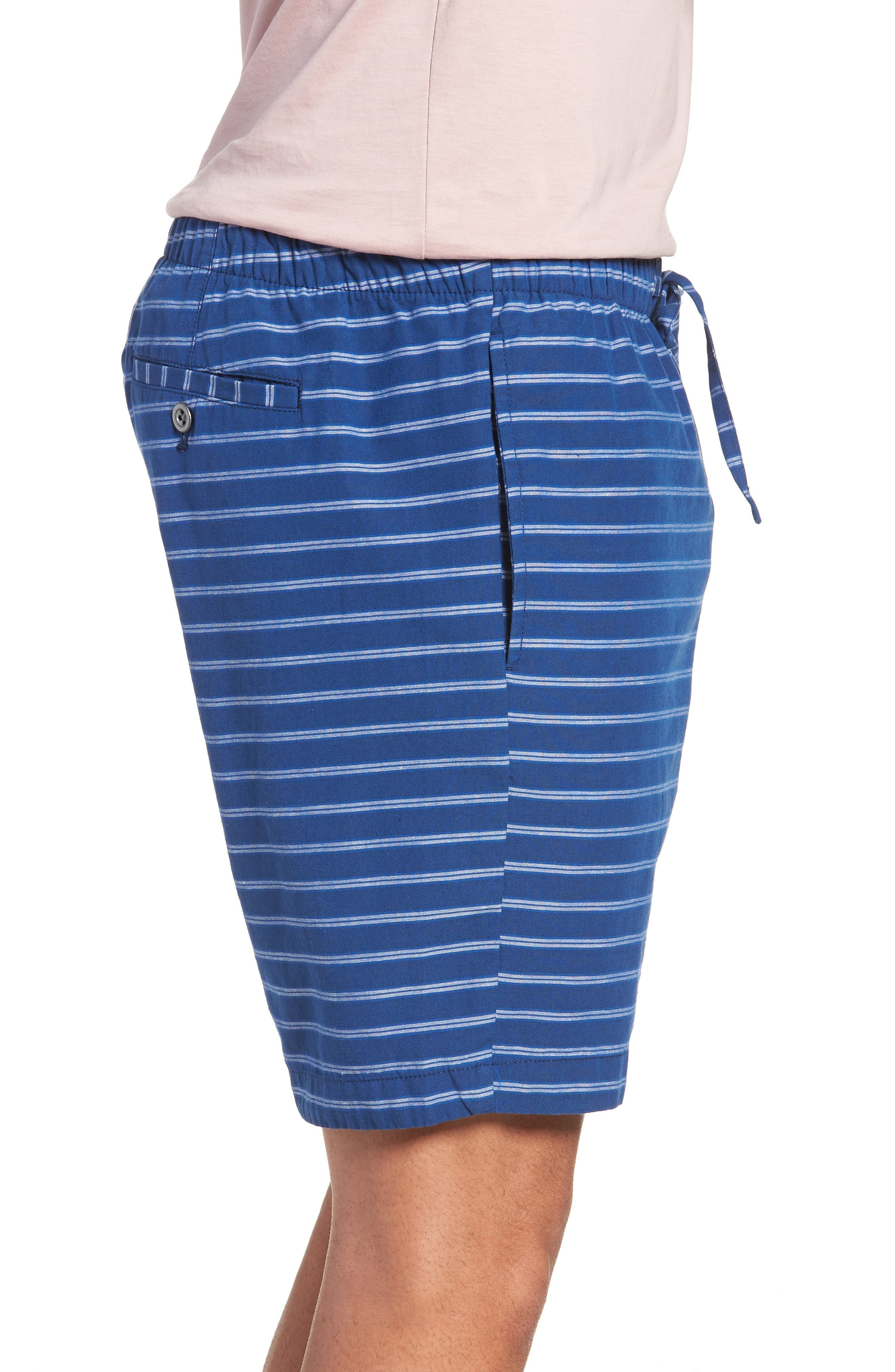 Slim Fit Stripe Beach Shorts,                             Alternate thumbnail 3, color,                             Blue Stripe