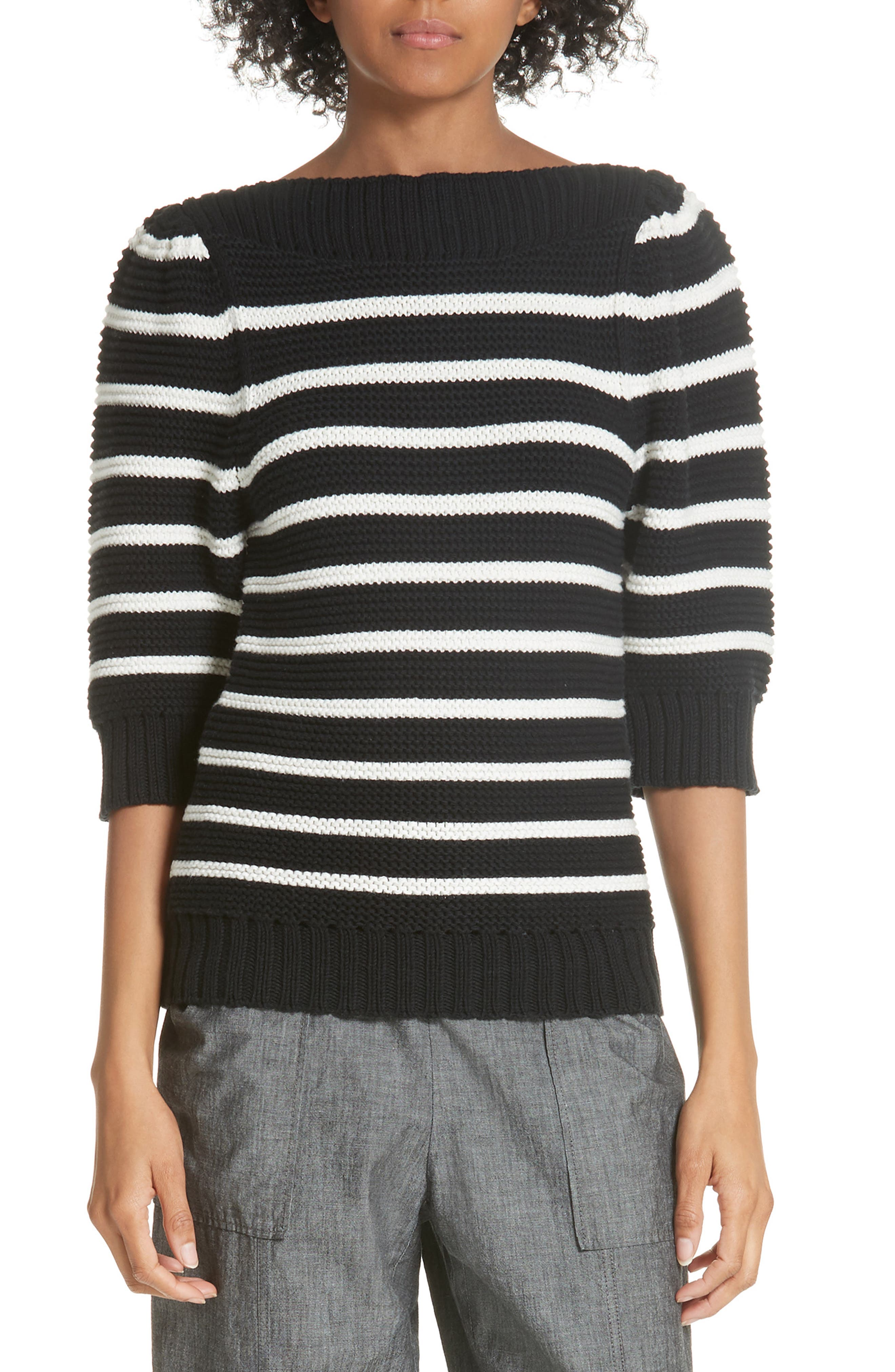 Puff Sleeve Stripe Sweater,                             Main thumbnail 1, color,                             Black Combo